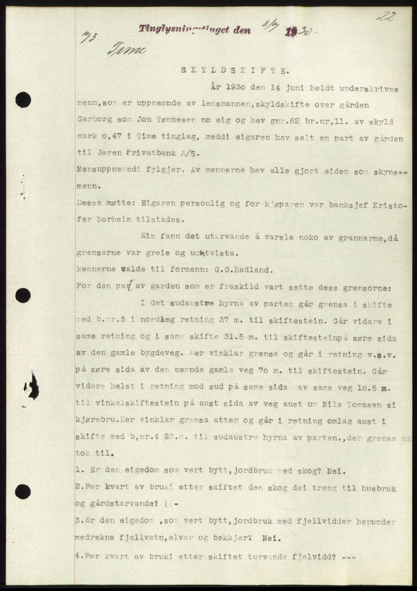SAST, Jæren sorenskriveri, G/Gba/L0058: Pantebok nr. 53, 55, 1930-1931, Tingl.dato: 08.07.1930