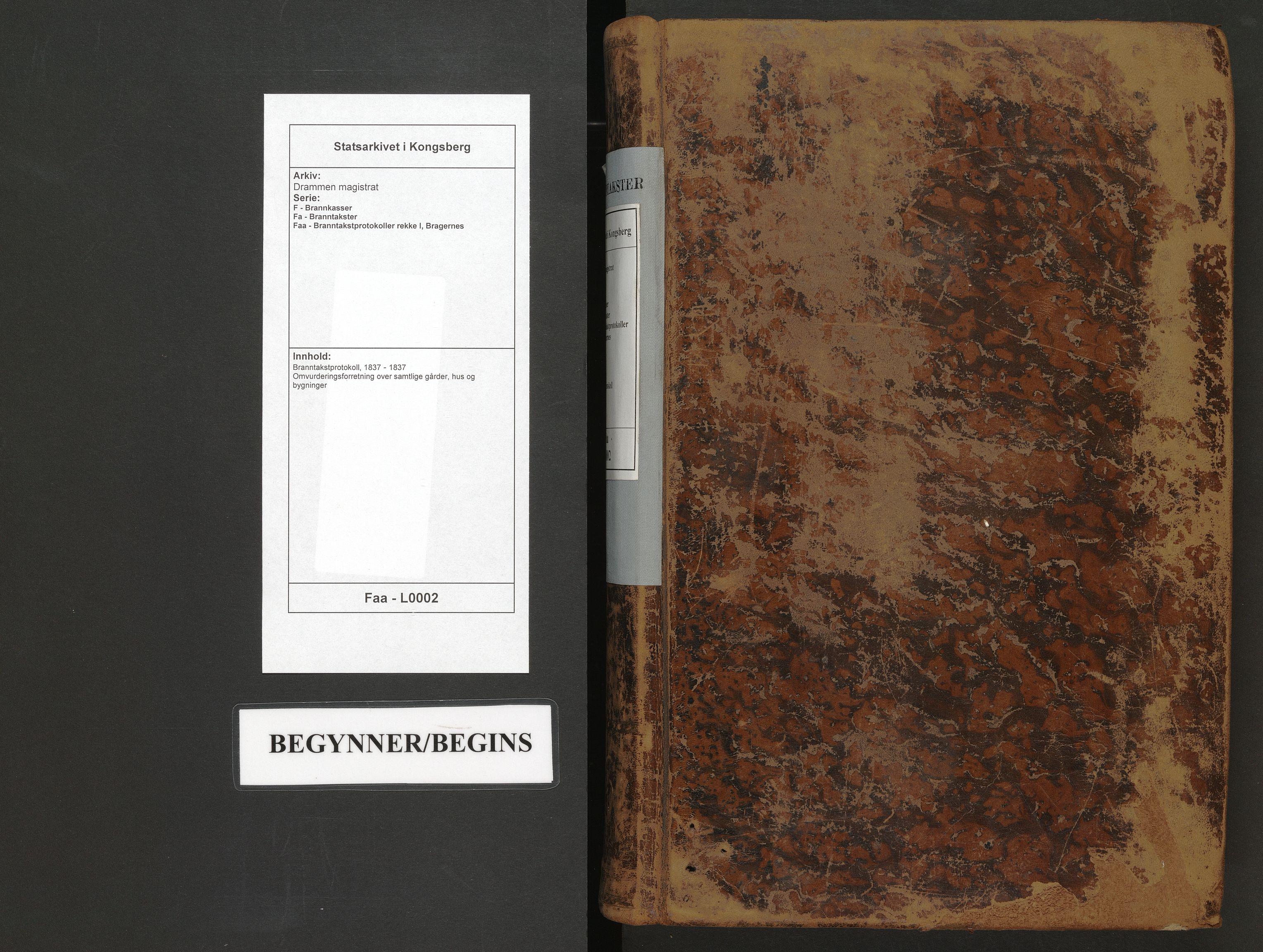 SAKO, Drammen magistrat, F/Fa/Faa/L0002: Branntakstprotokoll, 1837