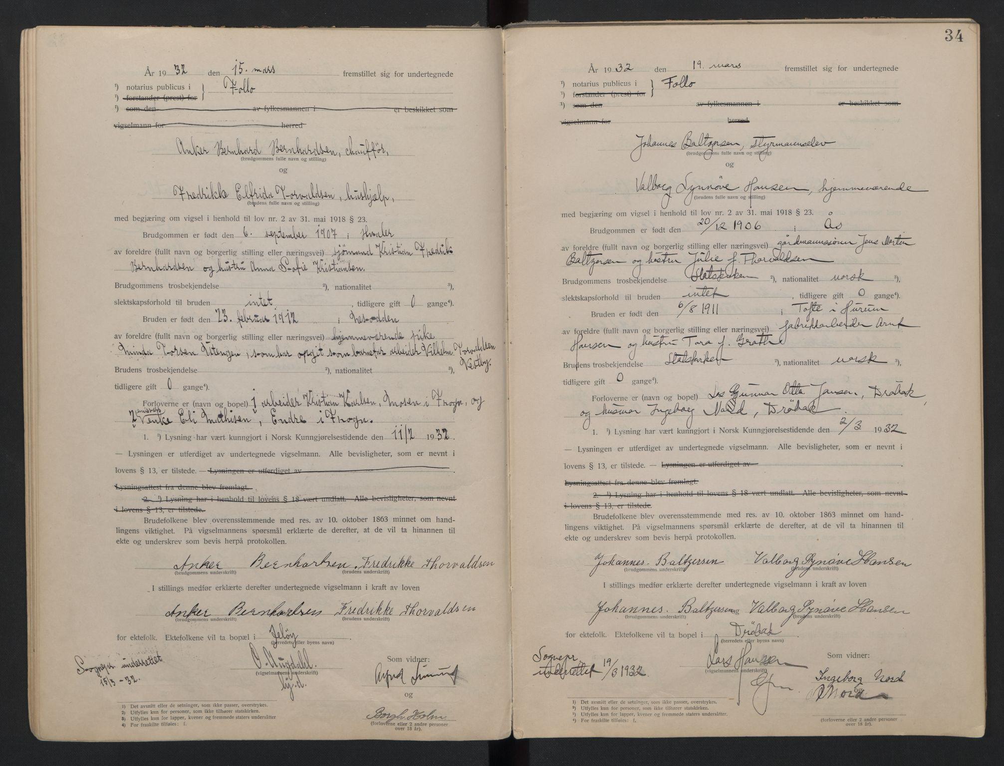 SAO, Follo sorenskriveri, L/La/Lab/L0001: Vigselsbok, 1920-1942, s. 34