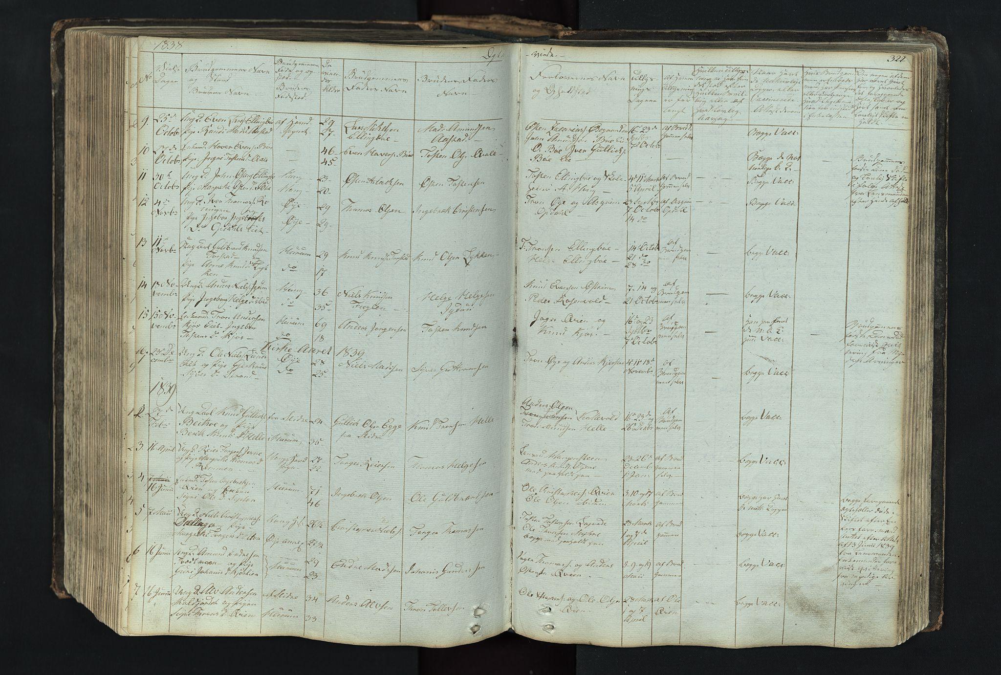 SAH, Vang prestekontor, Valdres, Klokkerbok nr. 4, 1835-1892, s. 322
