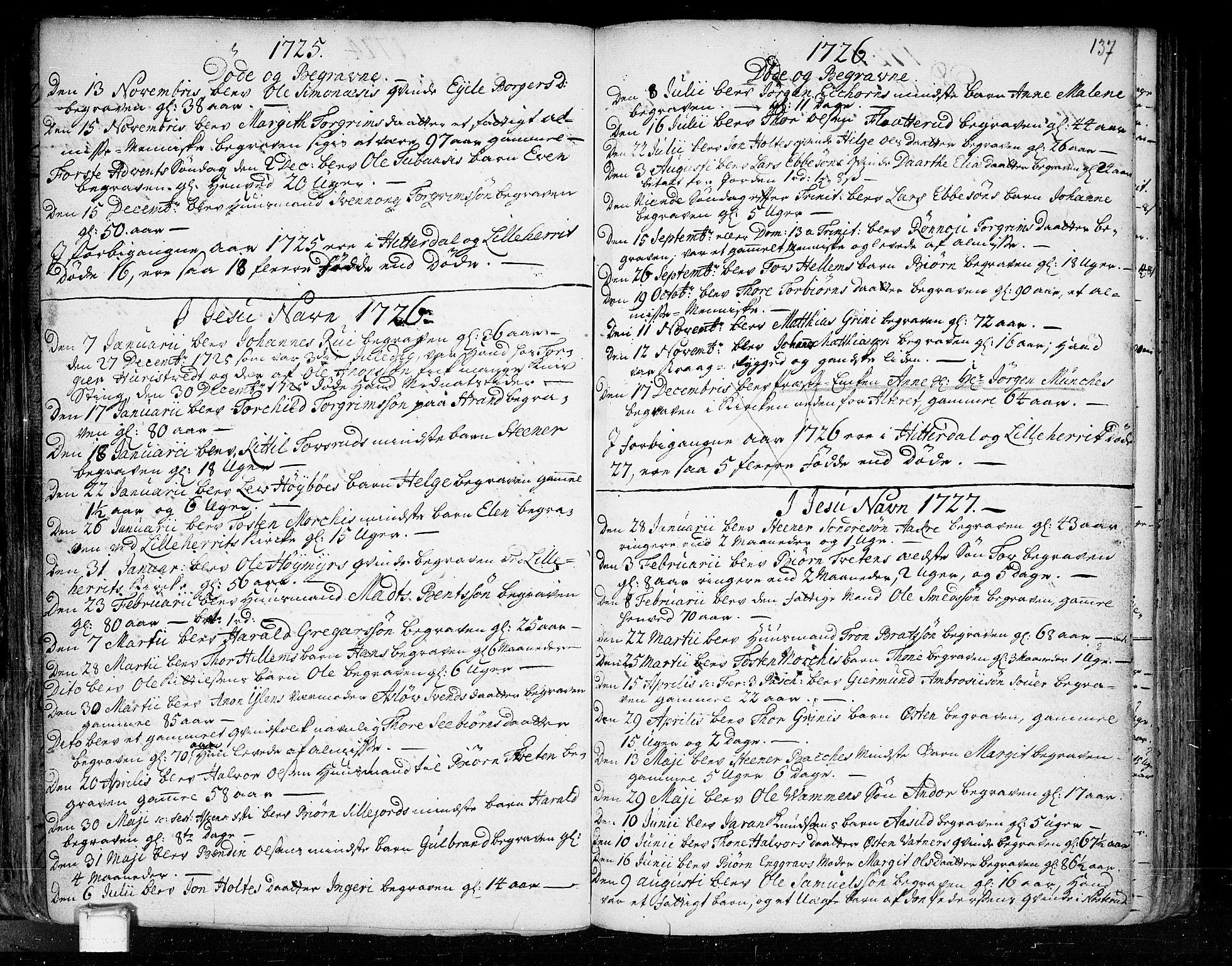 SAKO, Heddal kirkebøker, F/Fa/L0003: Ministerialbok nr. I 3, 1723-1783, s. 137
