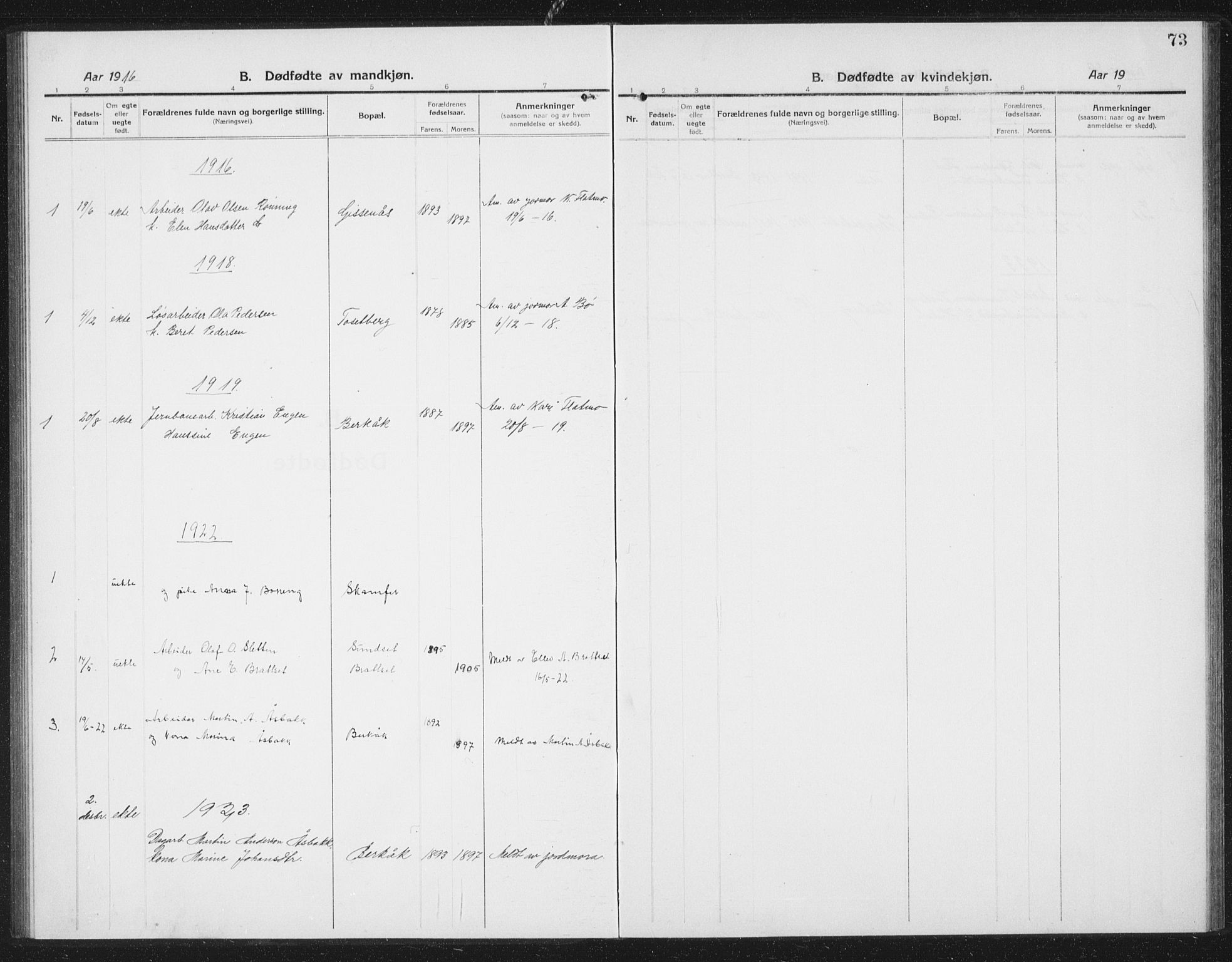 SAT, Ministerialprotokoller, klokkerbøker og fødselsregistre - Sør-Trøndelag, 675/L0888: Klokkerbok nr. 675C01, 1913-1935, s. 73