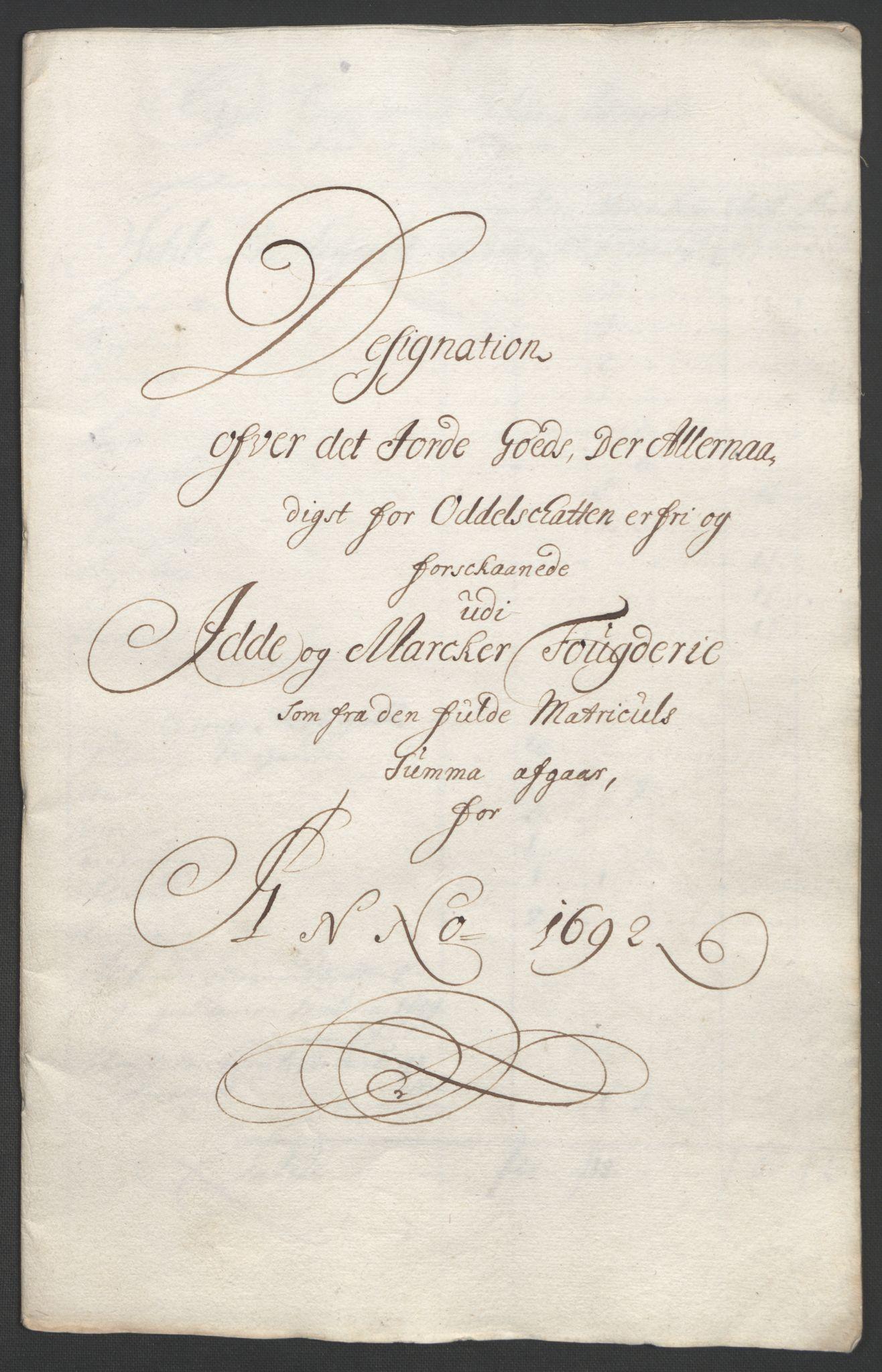 RA, Rentekammeret inntil 1814, Reviderte regnskaper, Fogderegnskap, R01/L0011: Fogderegnskap Idd og Marker, 1692-1693, s. 174