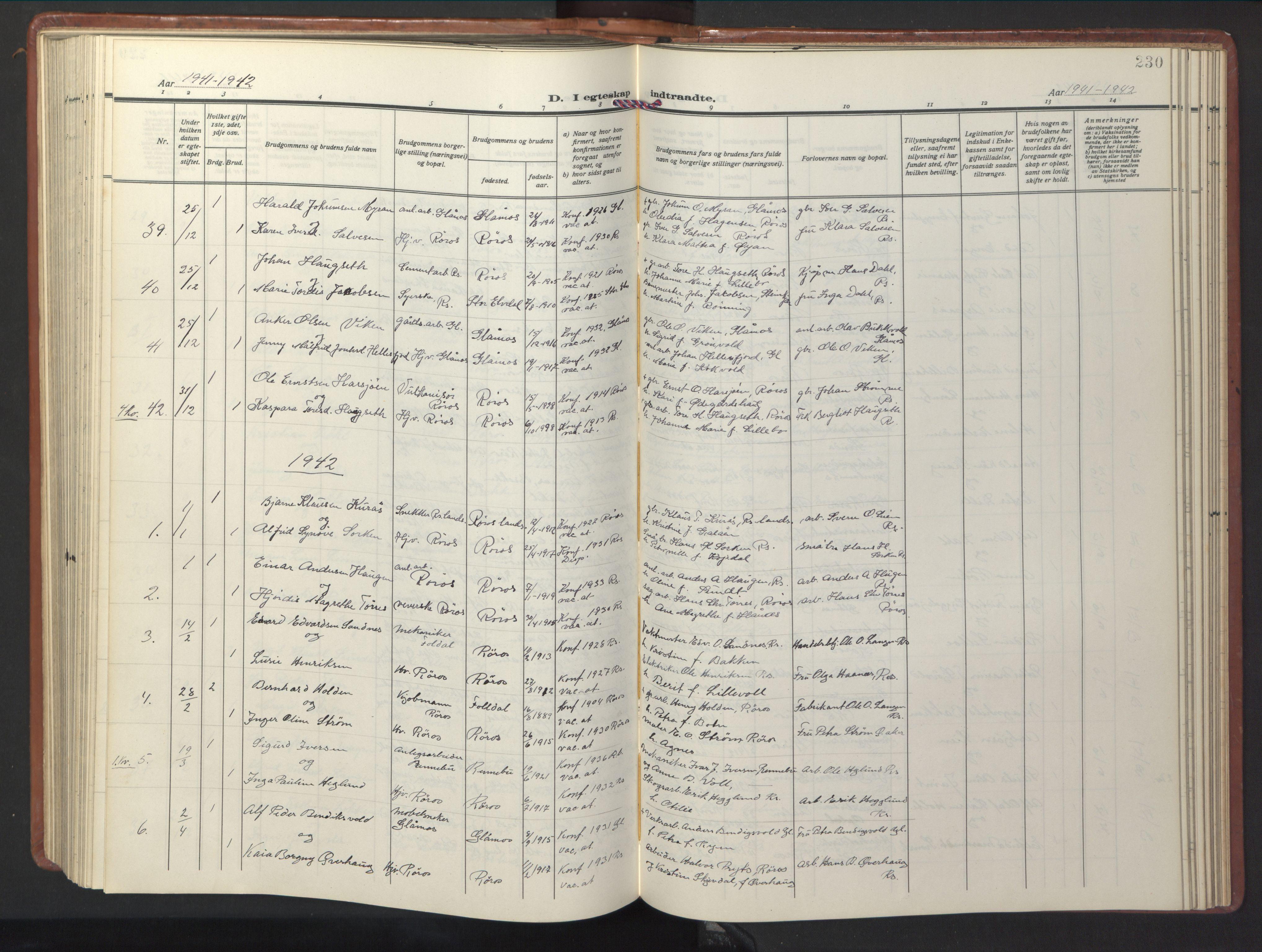 SAT, Ministerialprotokoller, klokkerbøker og fødselsregistre - Sør-Trøndelag, 681/L0943: Klokkerbok nr. 681C07, 1926-1954, s. 230