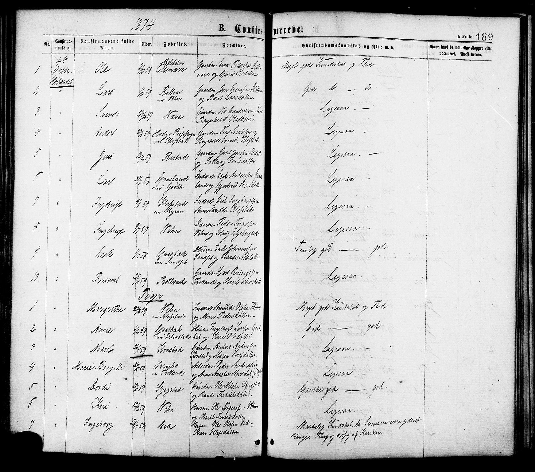 SAT, Ministerialprotokoller, klokkerbøker og fødselsregistre - Sør-Trøndelag, 691/L1079: Ministerialbok nr. 691A11, 1873-1886, s. 189