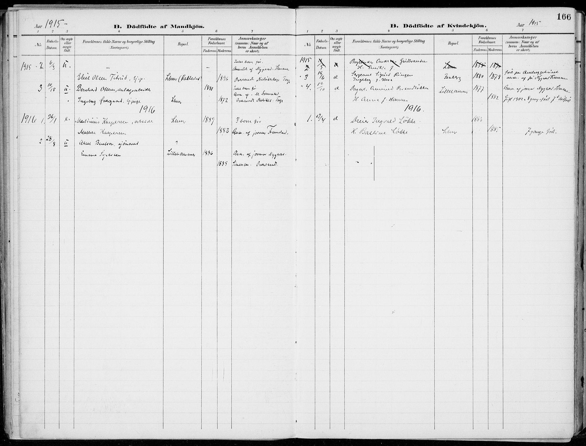 SAH, Lillehammer prestekontor, Ministerialbok nr. 1, 1901-1916, s. 166