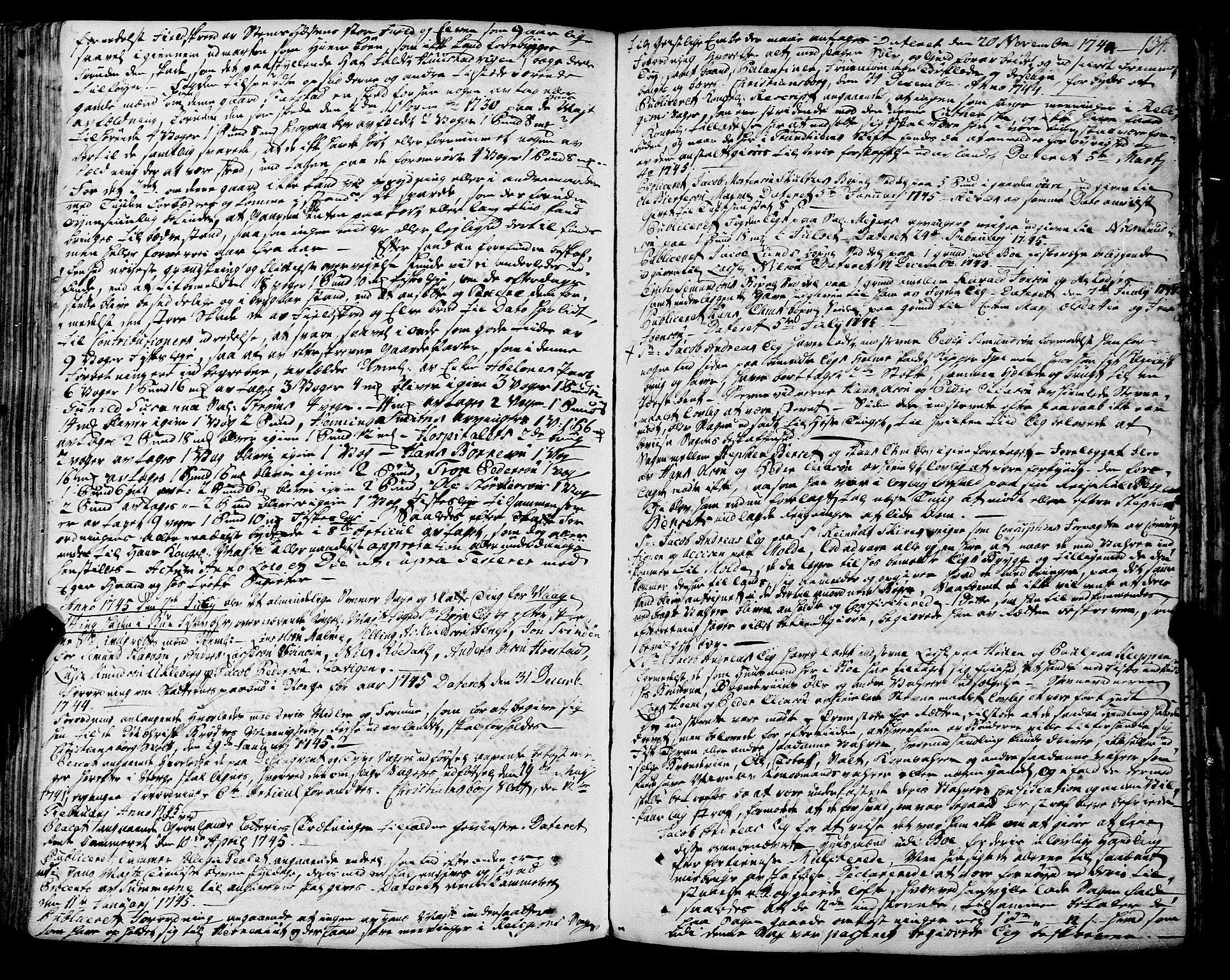 SAT, Romsdal sorenskriveri, 1/1A/L0012: Tingbok, 1740-1749, s. 133b-134a