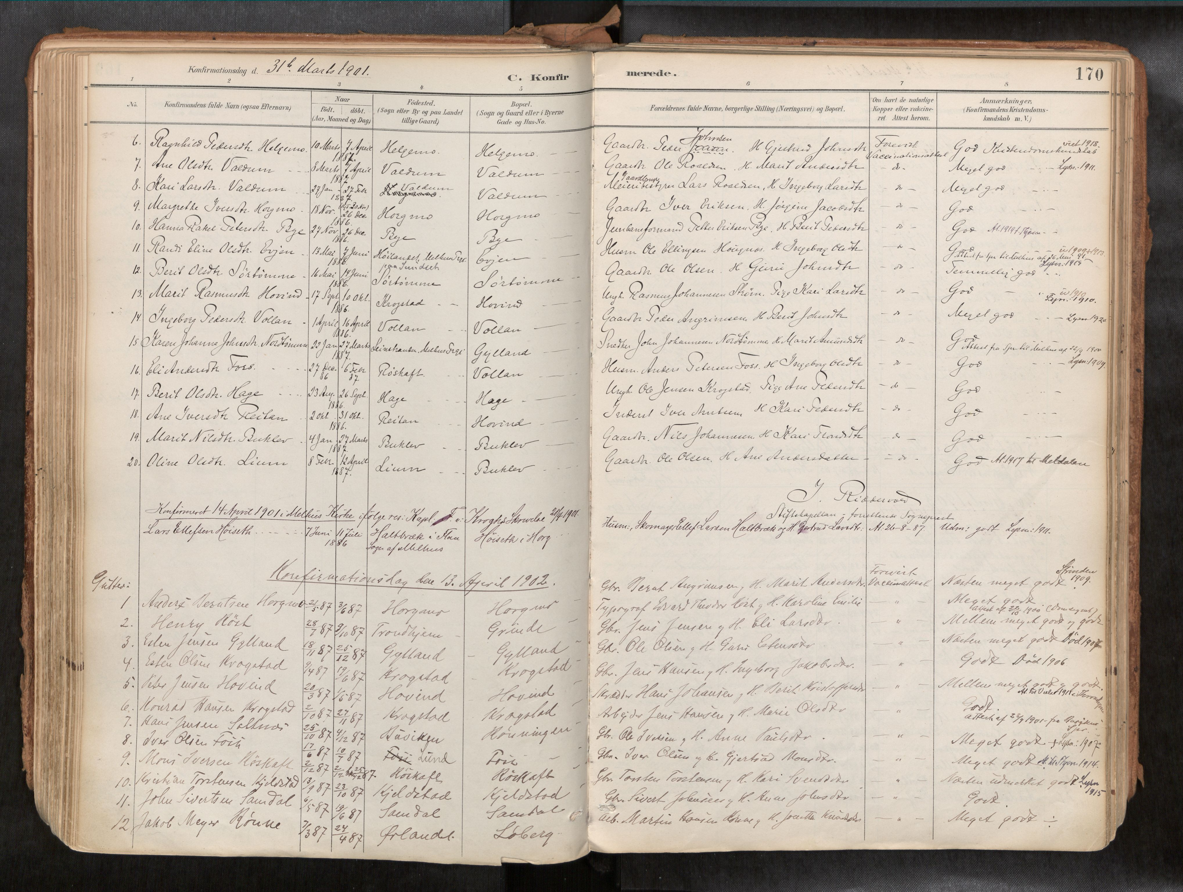SAT, Ministerialprotokoller, klokkerbøker og fødselsregistre - Sør-Trøndelag, 692/L1105b: Ministerialbok nr. 692A06, 1891-1934, s. 170