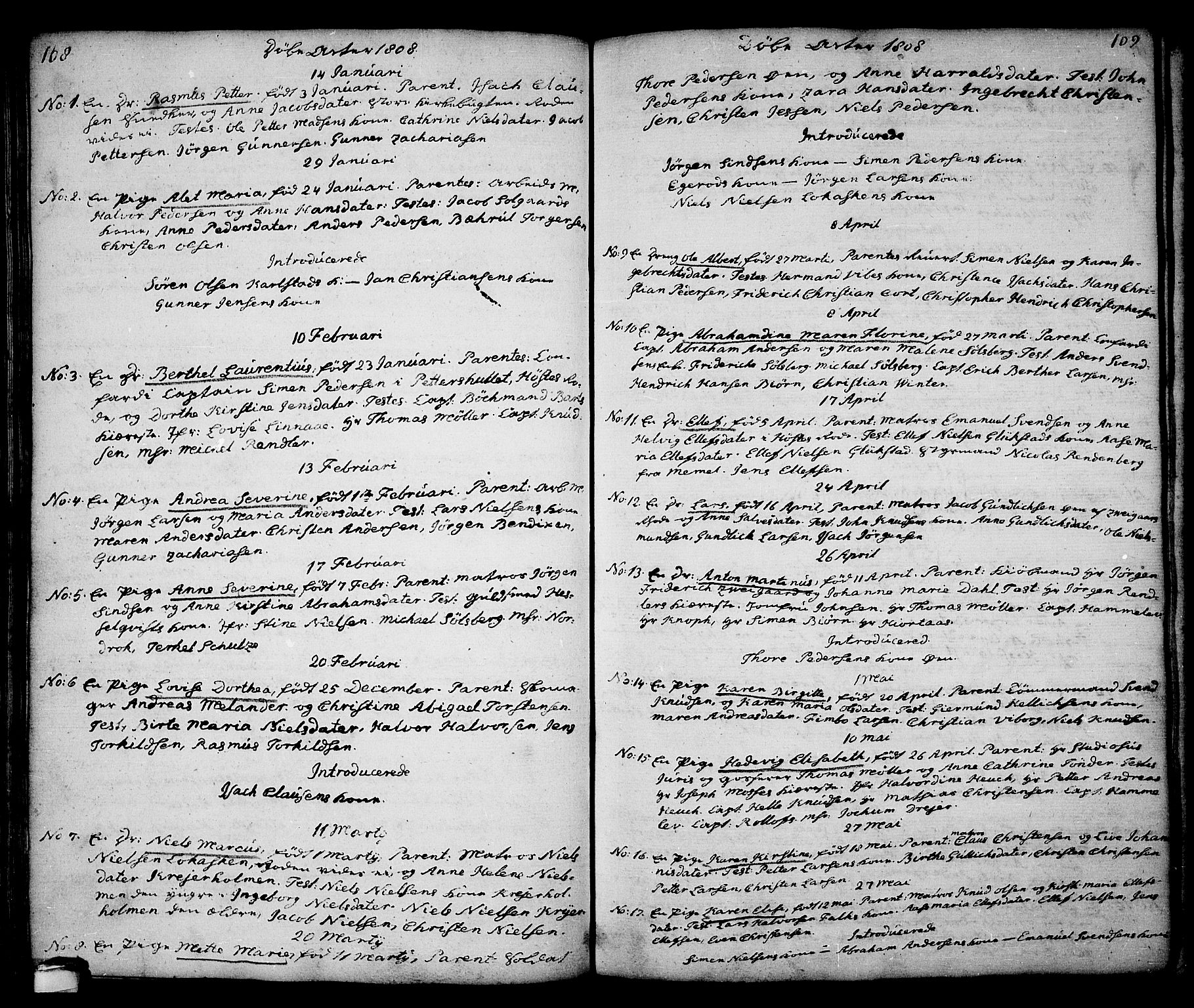 SAKO, Kragerø kirkebøker, G/Ga/L0001: Klokkerbok nr. 1 /1, 1806-1811, s. 108-109