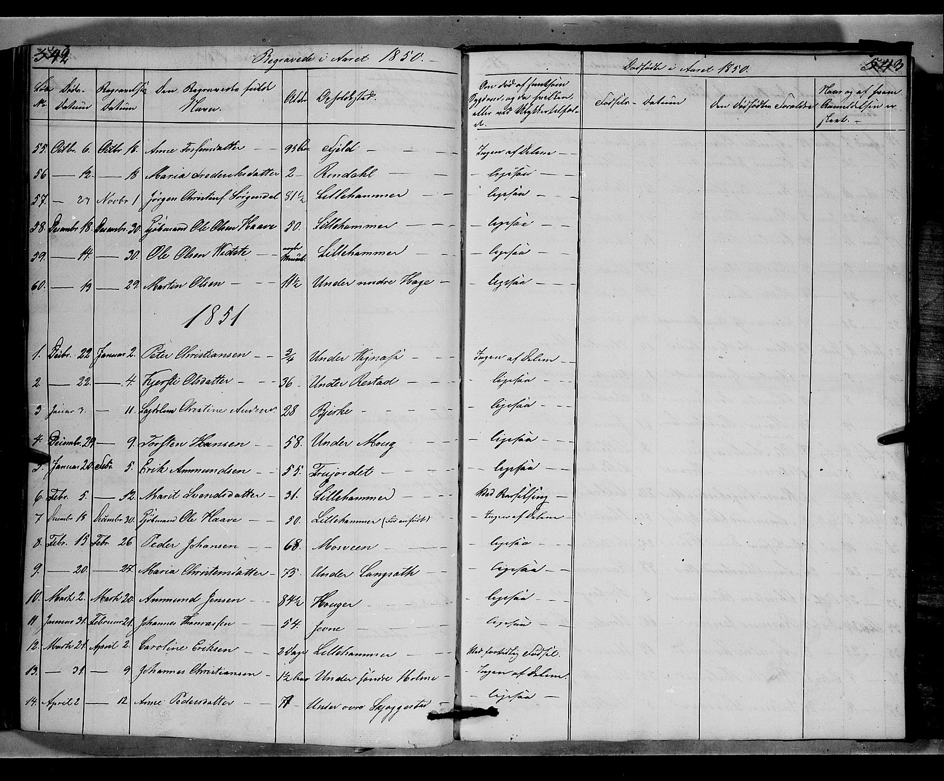 SAH, Fåberg prestekontor, Klokkerbok nr. 6, 1837-1855, s. 542-543