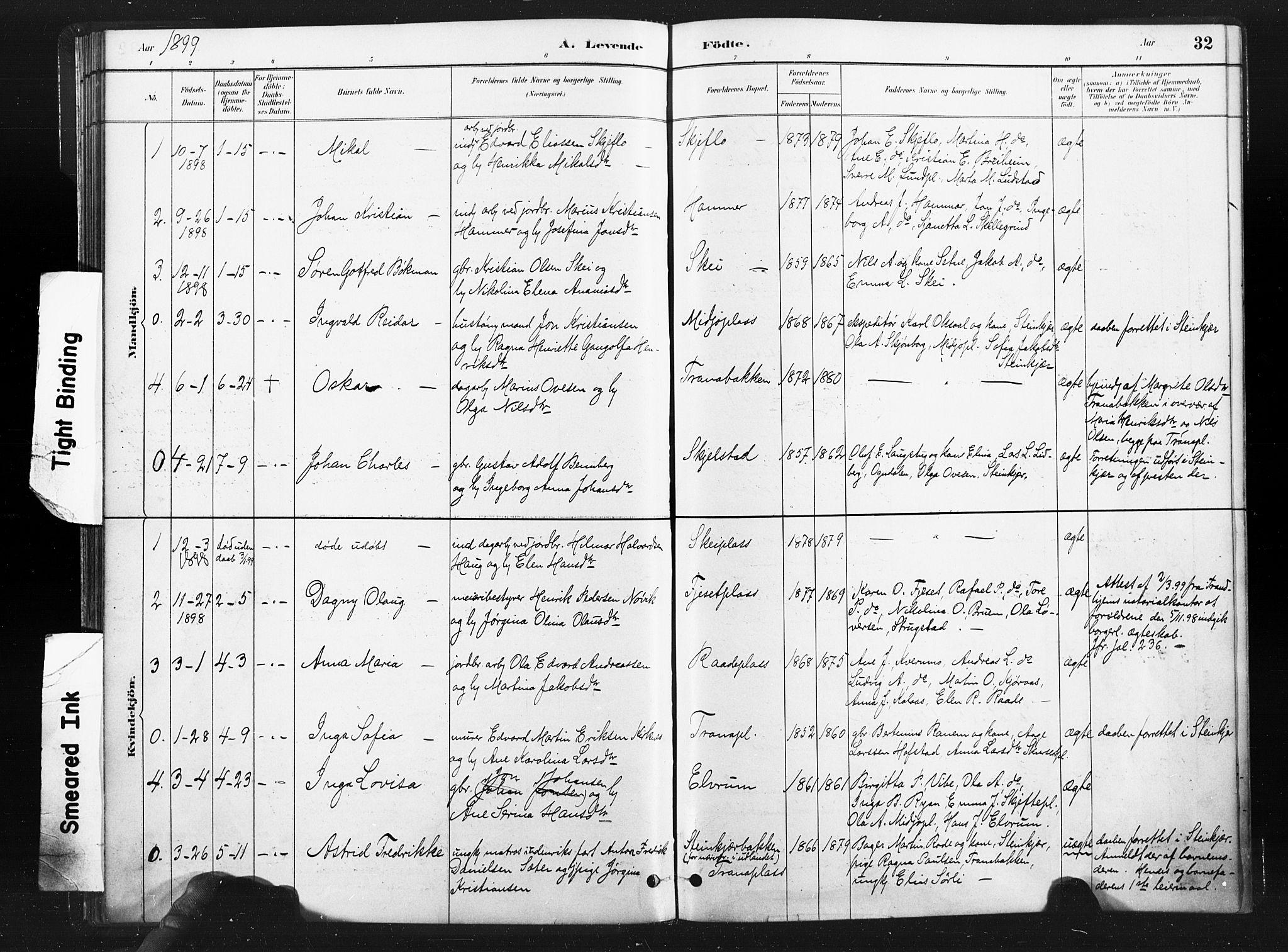SAT, Ministerialprotokoller, klokkerbøker og fødselsregistre - Nord-Trøndelag, 736/L0361: Ministerialbok nr. 736A01, 1884-1906, s. 32