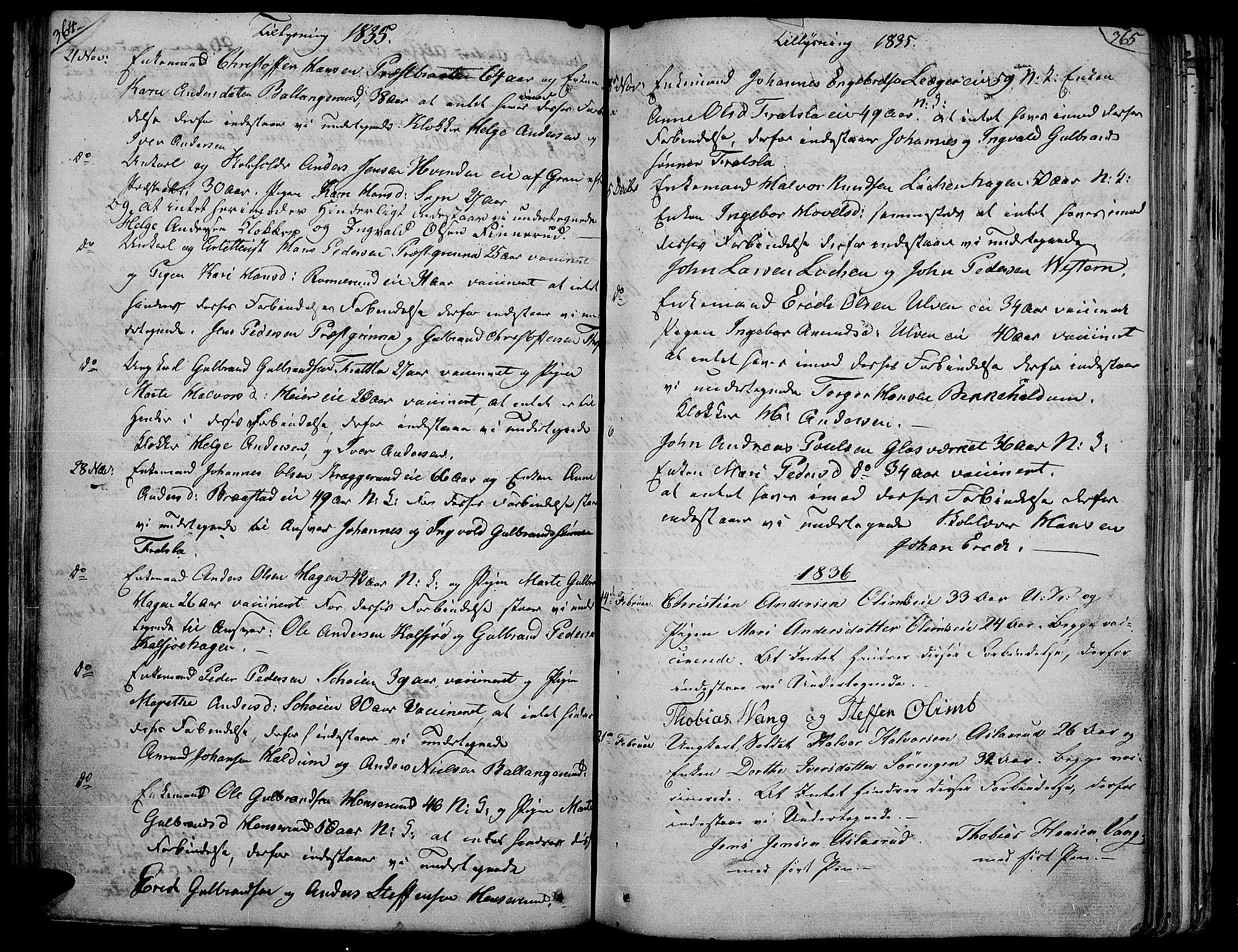 SAH, Jevnaker prestekontor, Ministerialbok nr. 4, 1800-1861, s. 364-365