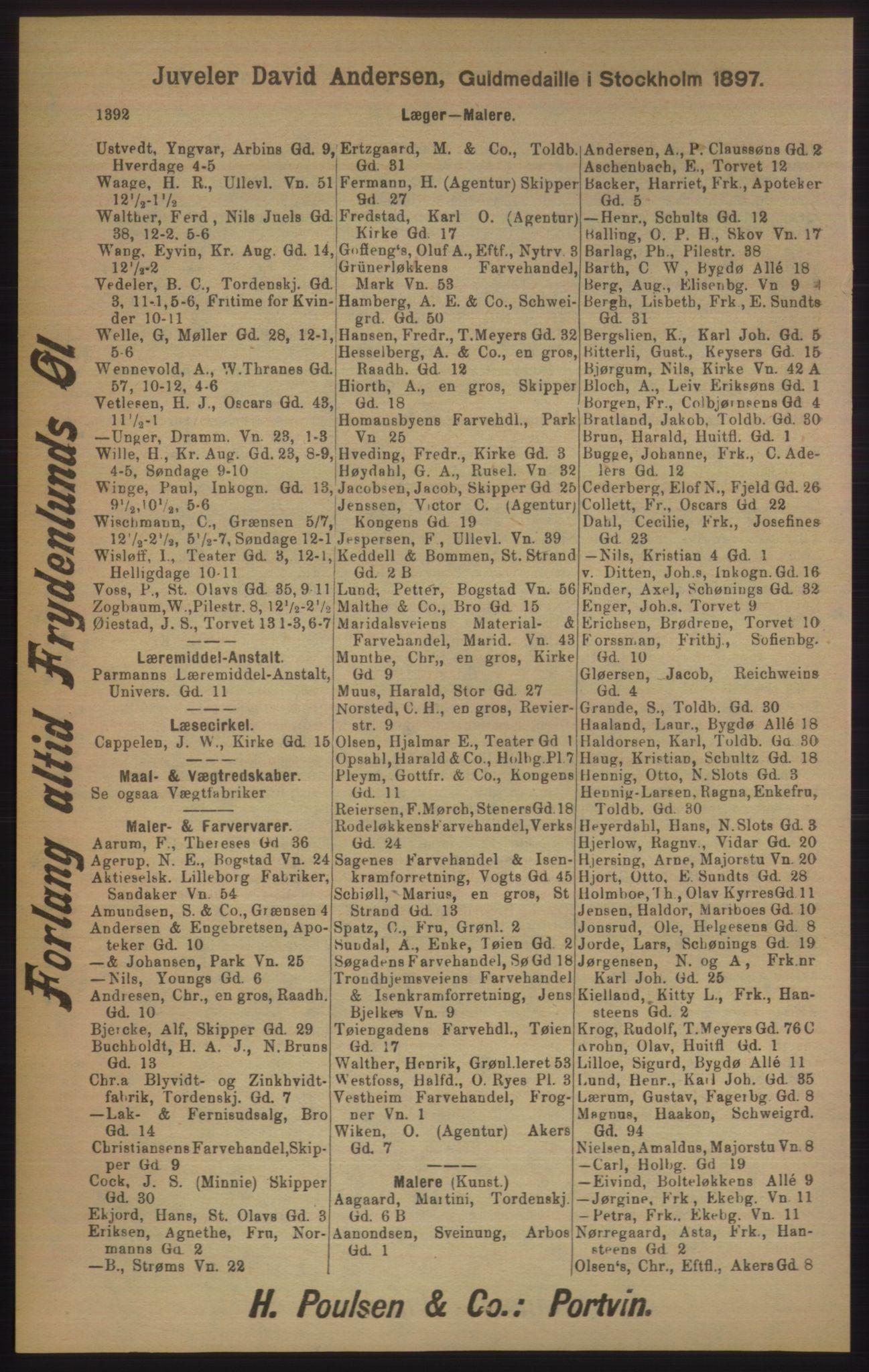 RA, Kristiania adressebok (publikasjon)*, 1905, s. 1392