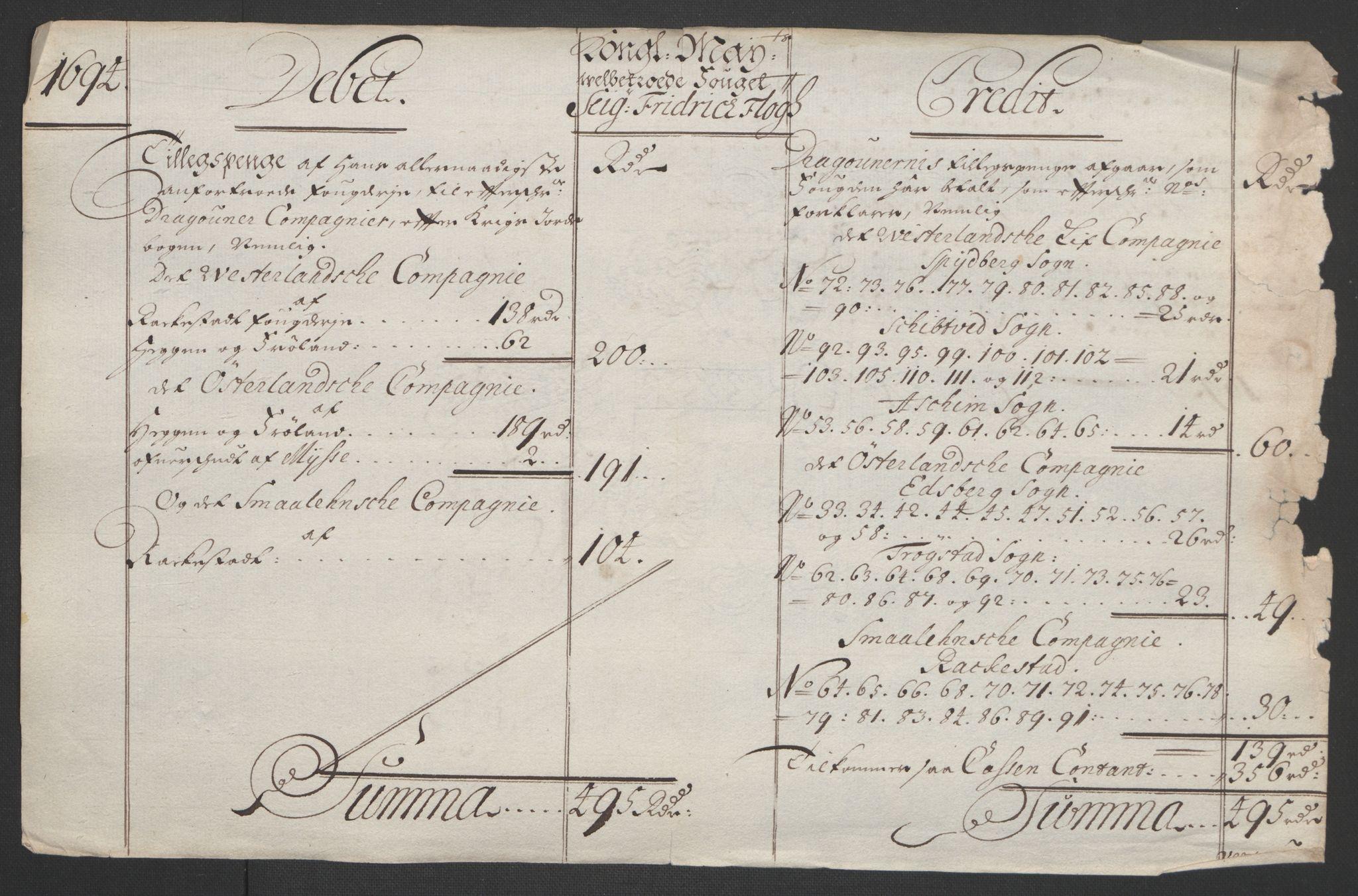 RA, Rentekammeret inntil 1814, Reviderte regnskaper, Fogderegnskap, R07/L0284: Fogderegnskap Rakkestad, Heggen og Frøland, 1694, s. 302