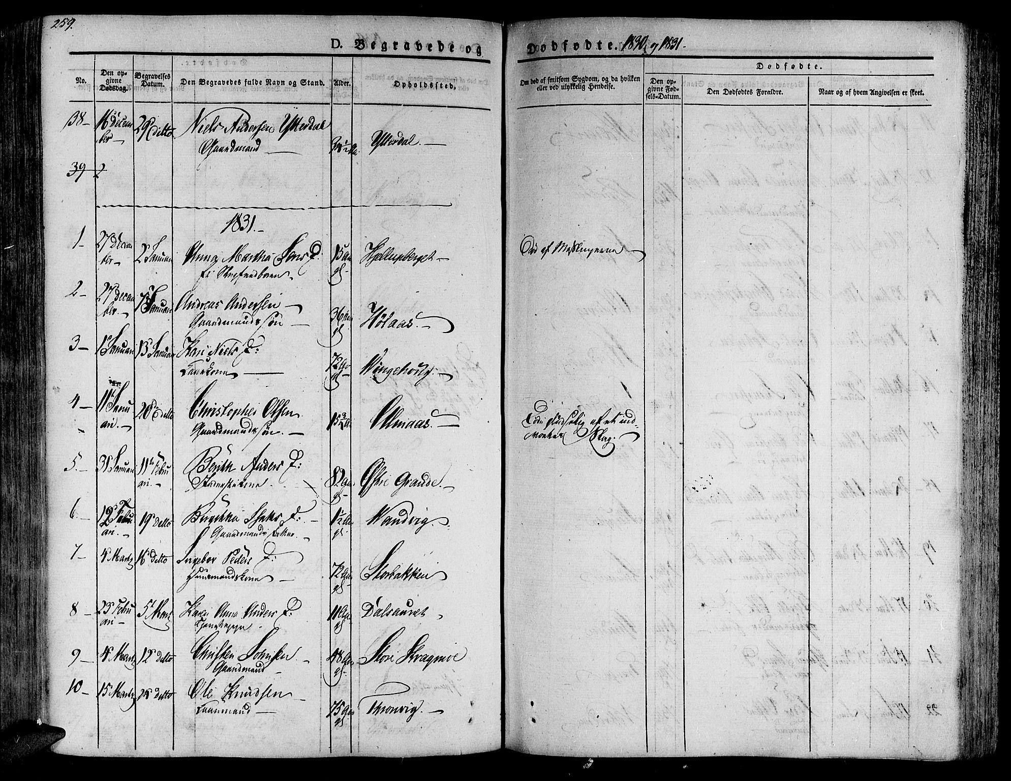 SAT, Ministerialprotokoller, klokkerbøker og fødselsregistre - Nord-Trøndelag, 701/L0006: Ministerialbok nr. 701A06, 1825-1841, s. 259
