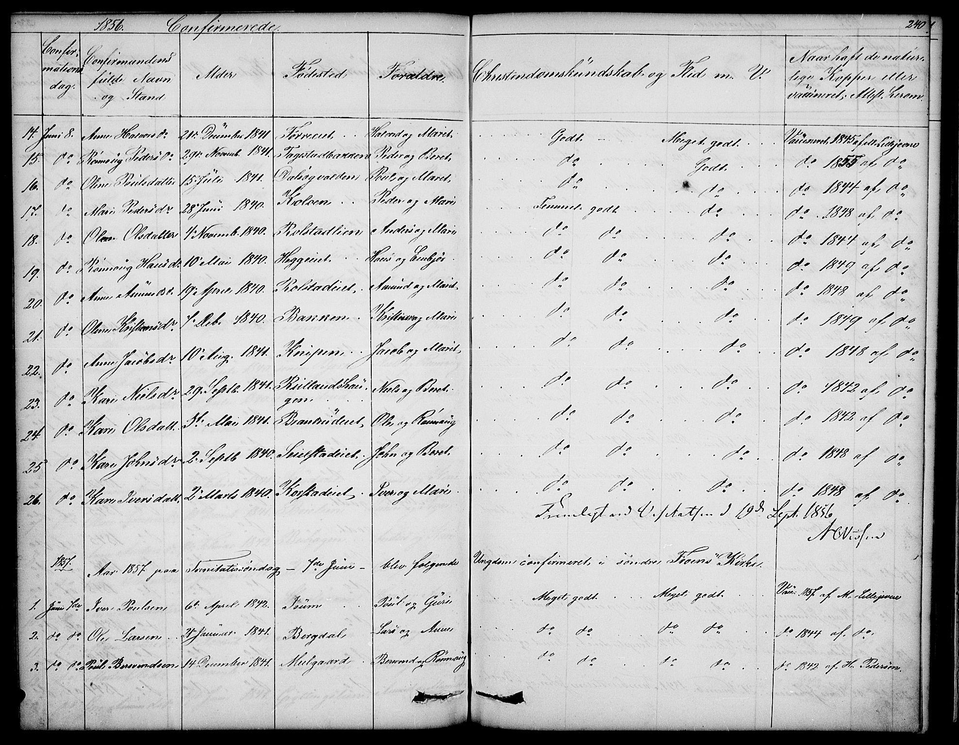 SAH, Sør-Fron prestekontor, H/Ha/Hab/L0001: Klokkerbok nr. 1, 1844-1863, s. 240
