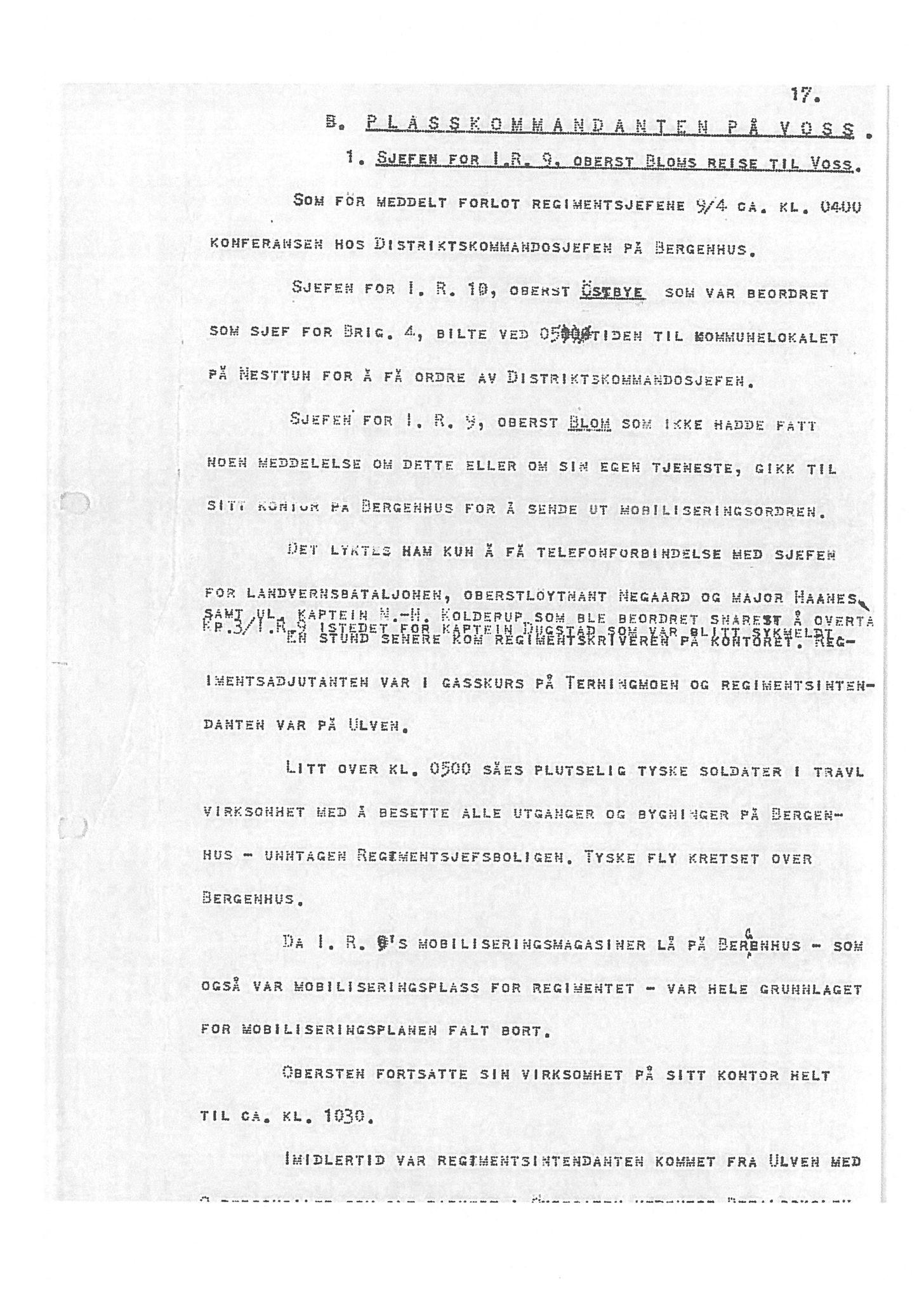 """SAB, Oberst Sverre Blom - manuskript til krigshistorie, F/L0001: Manuskript """"Krigens historie - operasjonene til lands på Vestlandet 1940"""" av oberst Sverre Blom, 1940, s. 17"""