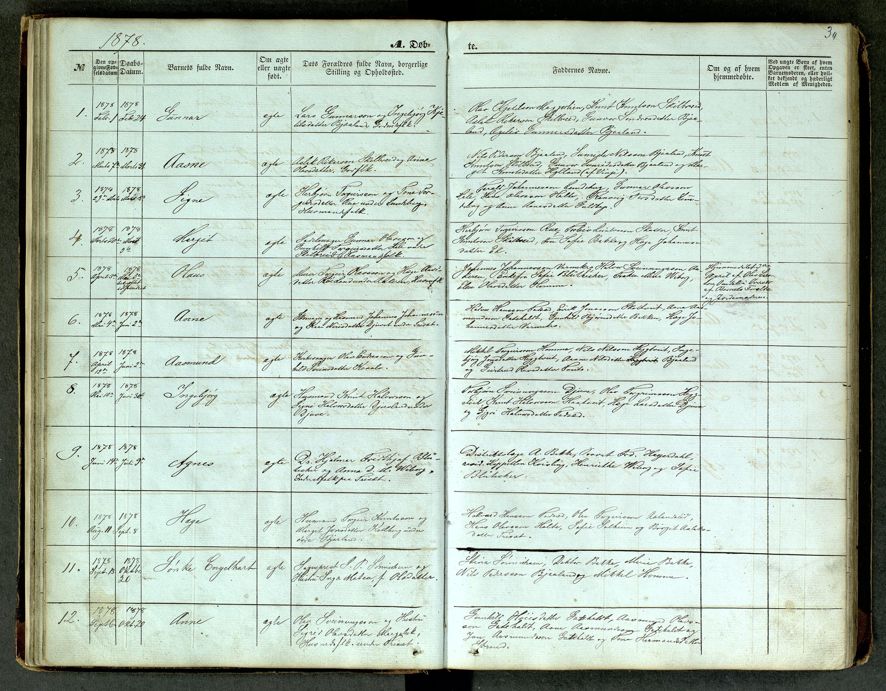 SAKO, Lårdal kirkebøker, G/Ga/L0002: Klokkerbok nr. I 2, 1861-1890, s. 30