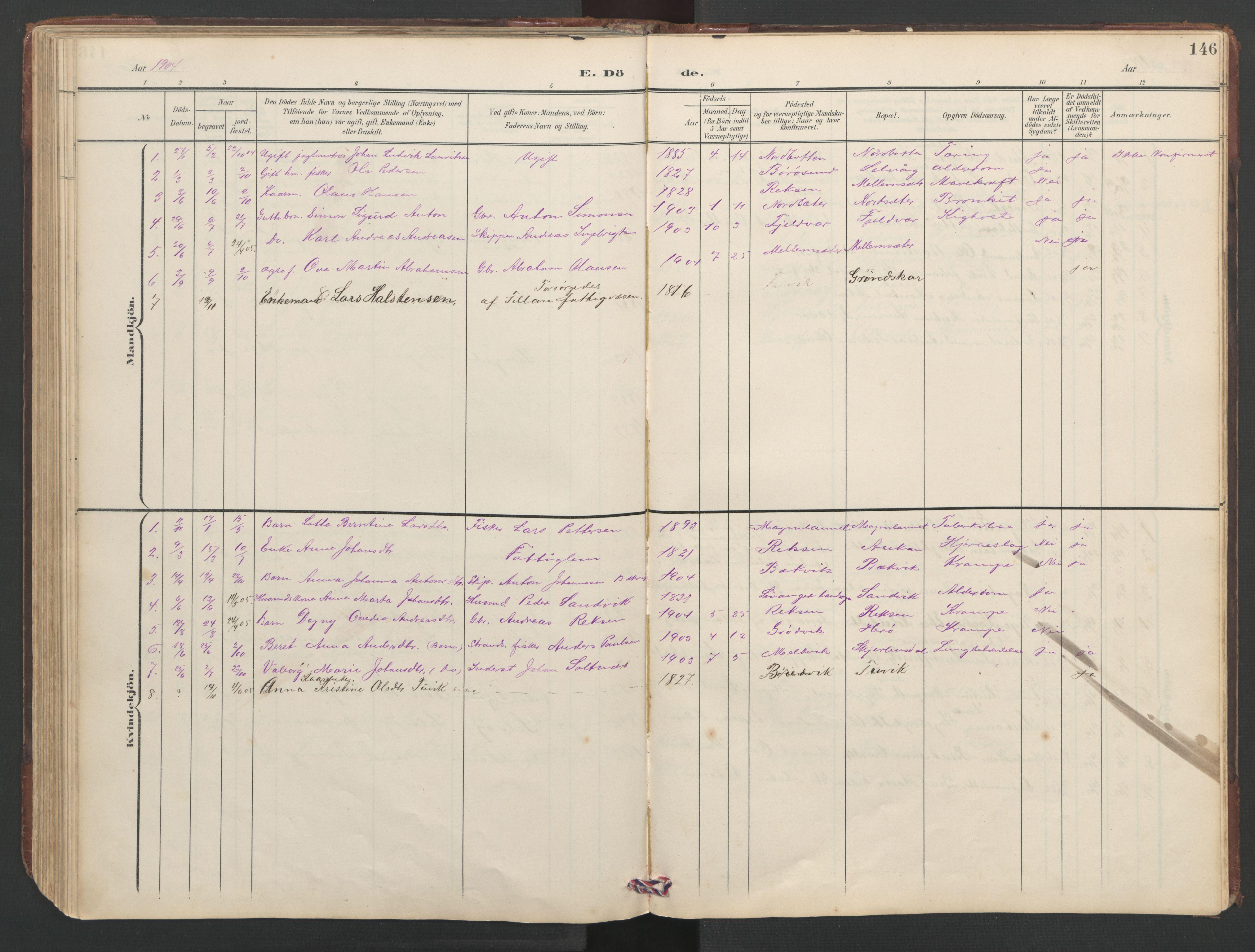 SAT, Ministerialprotokoller, klokkerbøker og fødselsregistre - Sør-Trøndelag, 638/L0571: Klokkerbok nr. 638C03, 1901-1930, s. 146