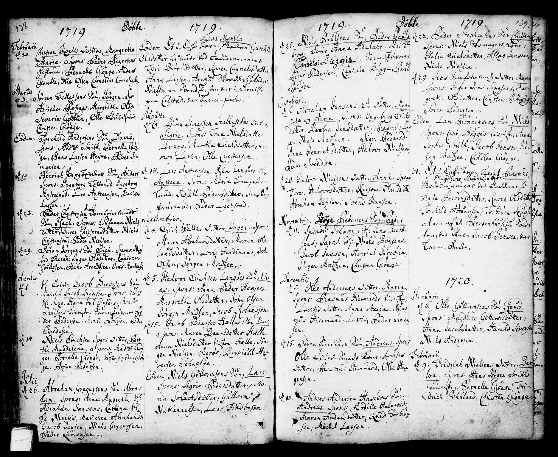 SAKO, Kragerø kirkebøker, F/Fa/L0001: Ministerialbok nr. 1, 1702-1766, s. 138-139