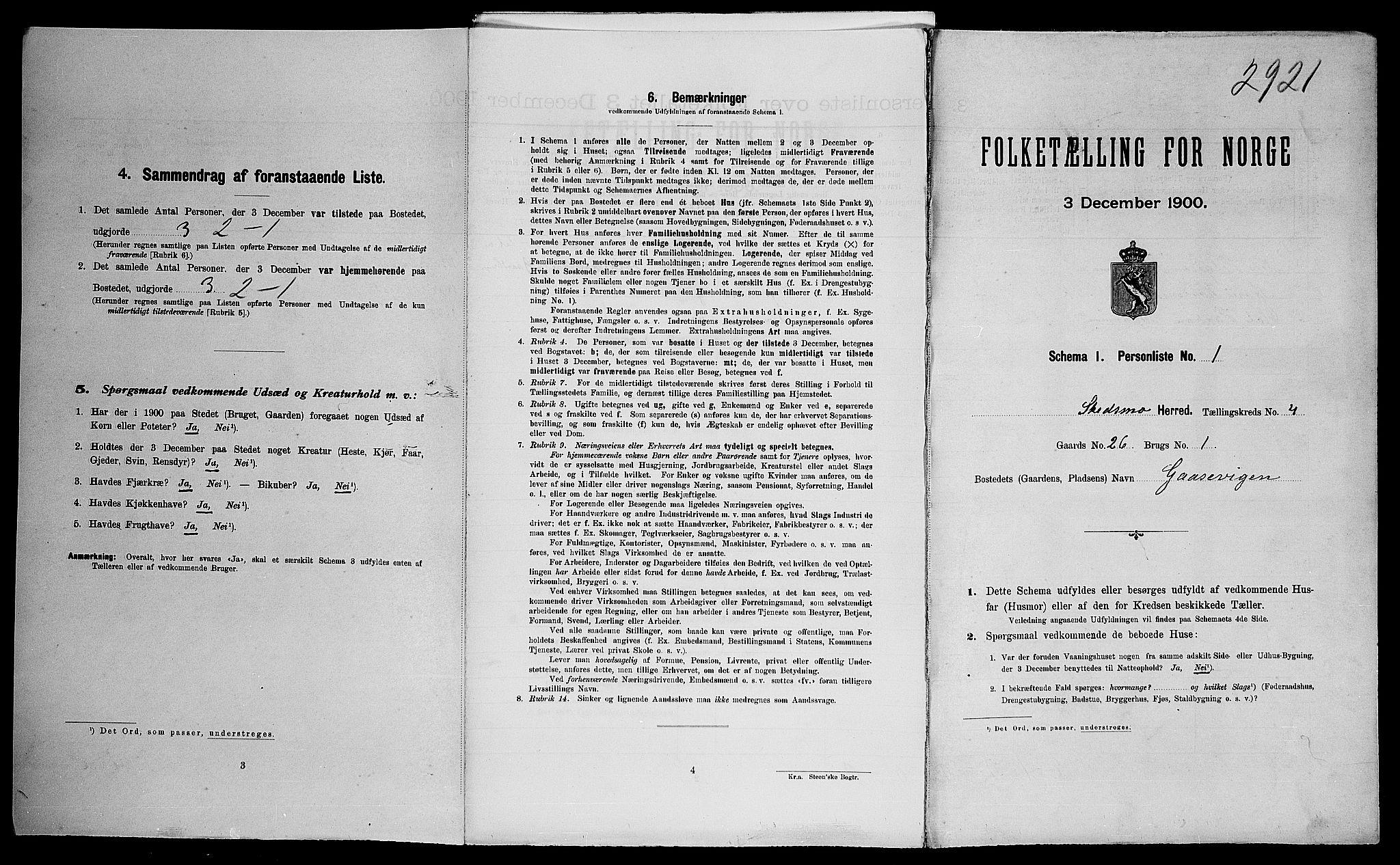 SAO, Folketelling 1900 for 0231 Skedsmo herred, 1900