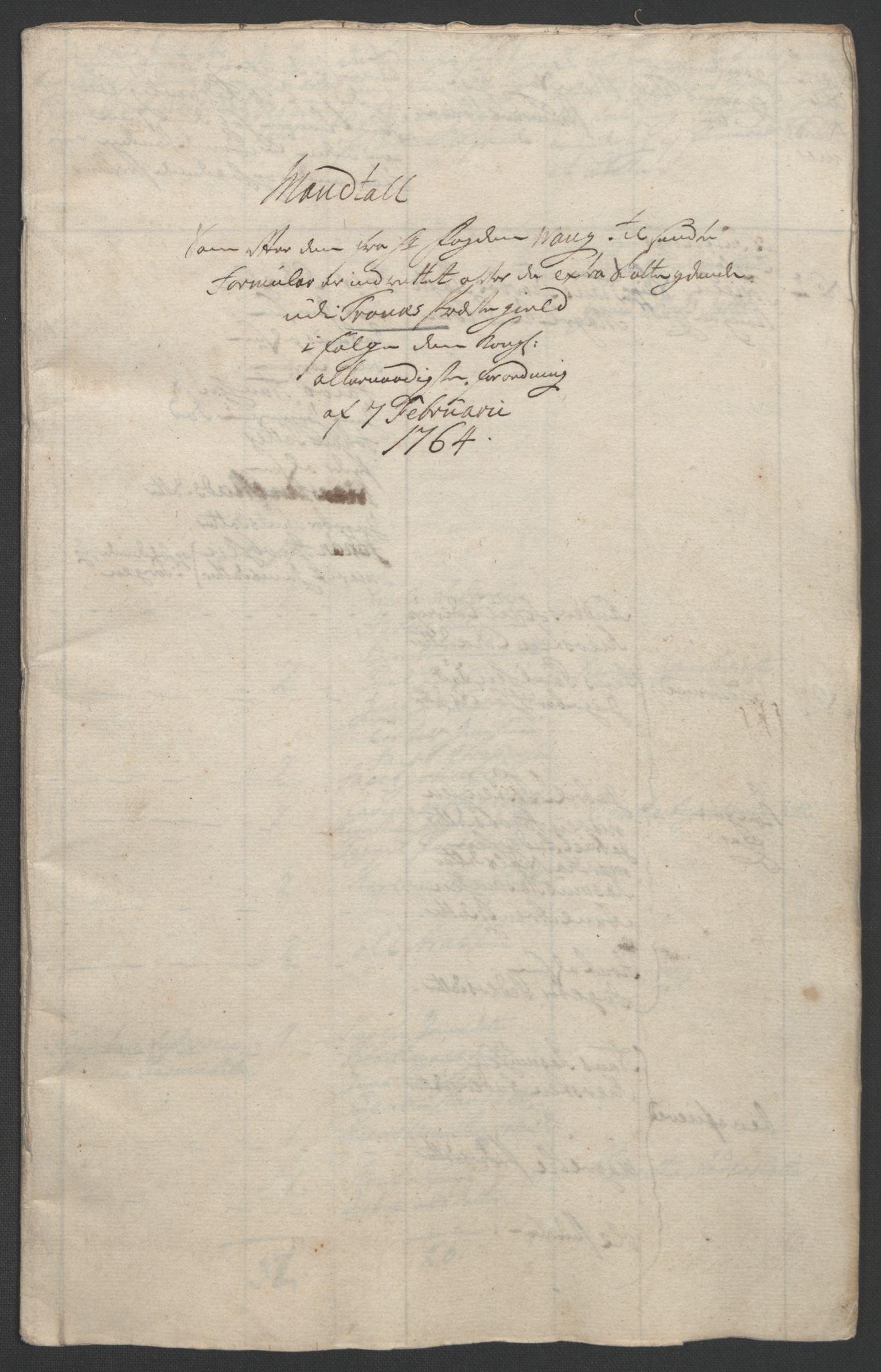 RA, Rentekammeret inntil 1814, Realistisk ordnet avdeling, Ol/L0022b: [Gg 10]: Ekstraskatten, 23.09.1762. Senja og Troms, 1765-1768, s. 15