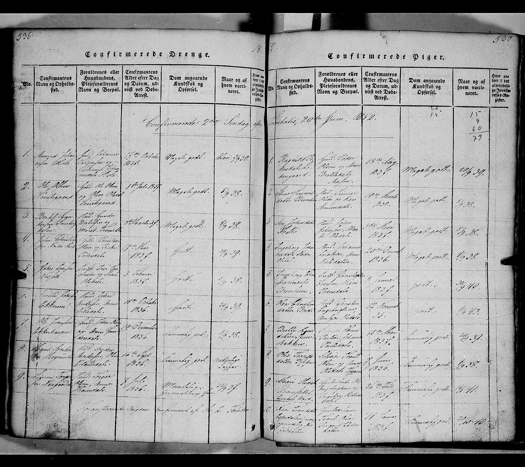 SAH, Gausdal prestekontor, Klokkerbok nr. 2, 1818-1874, s. 536-537