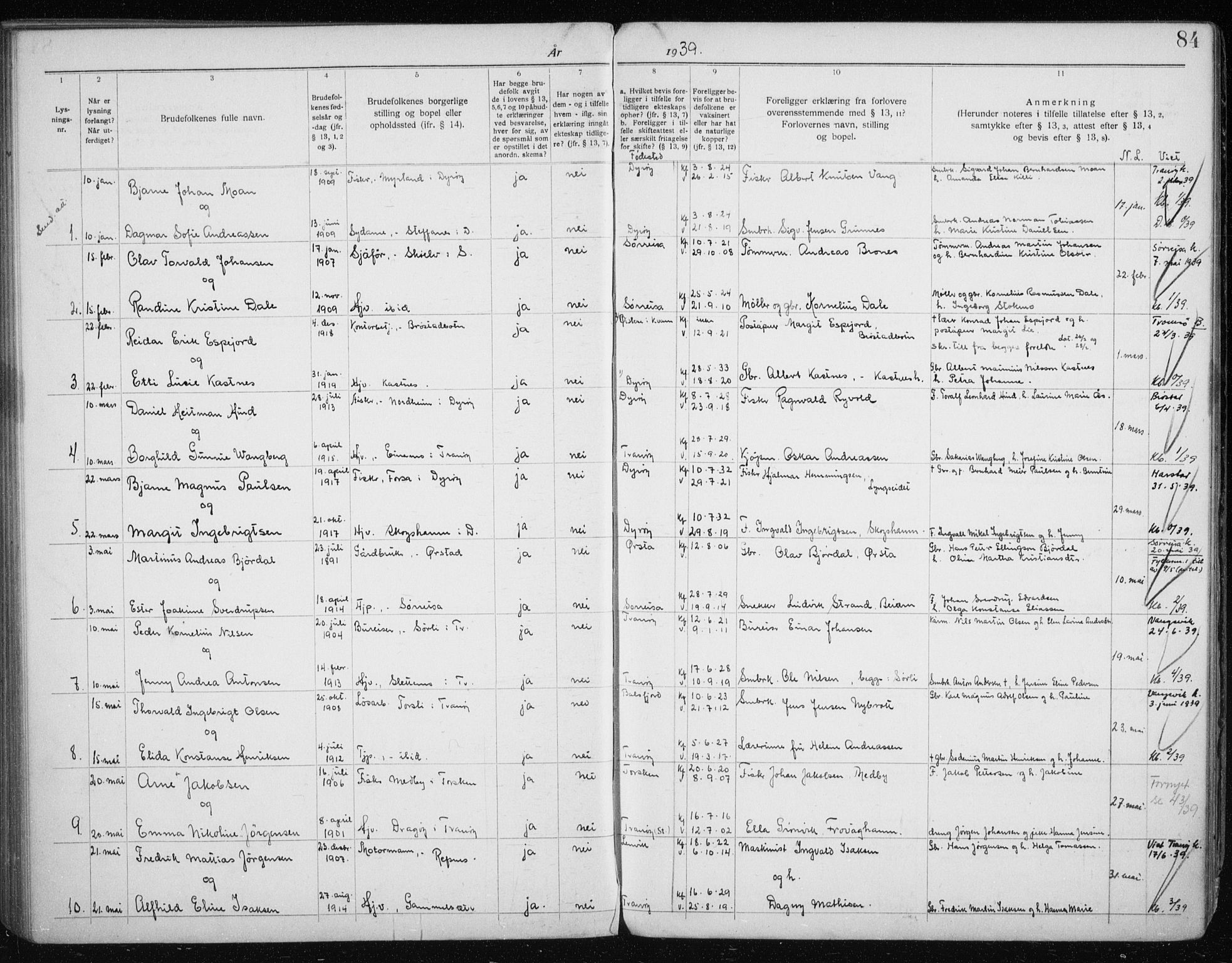 SATØ, Tranøy sokneprestkontor, J/Jc/L0053: Lysningsprotokoll nr. 53, 1919-1940, s. 84
