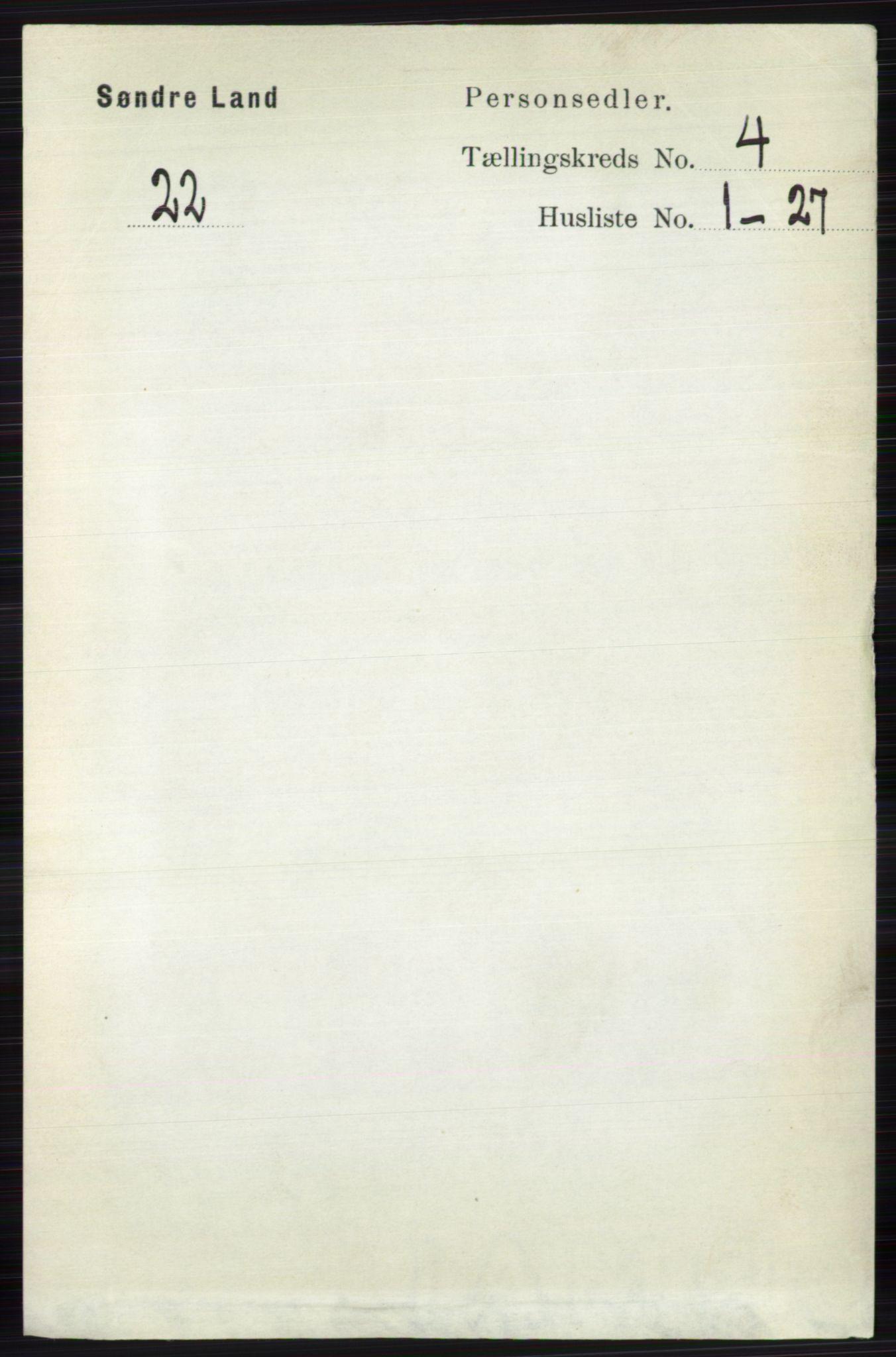 RA, Folketelling 1891 for 0536 Søndre Land herred, 1891, s. 3992