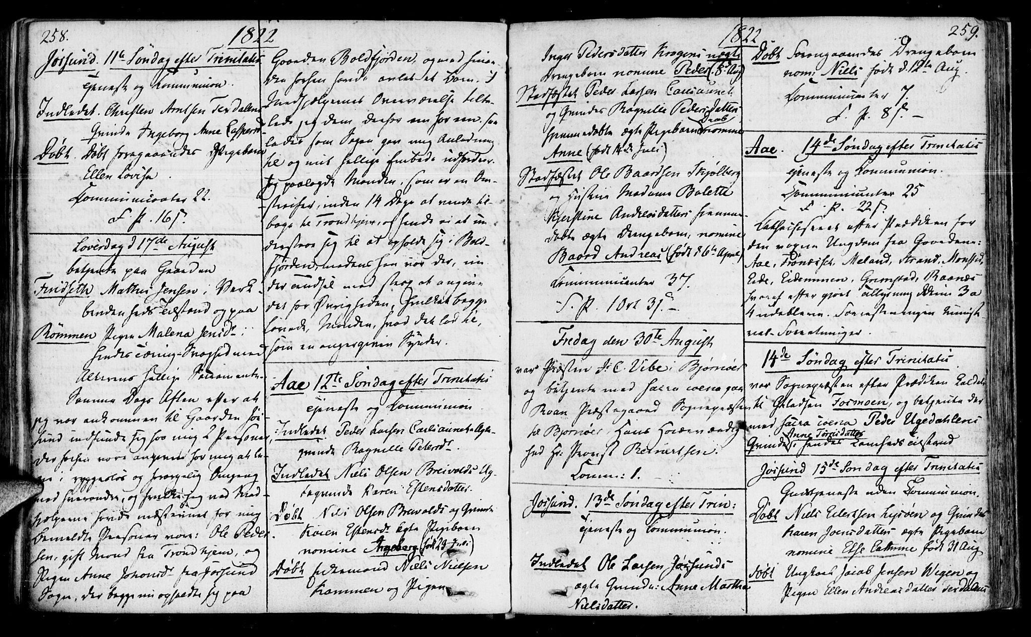 SAT, Ministerialprotokoller, klokkerbøker og fødselsregistre - Sør-Trøndelag, 655/L0674: Ministerialbok nr. 655A03, 1802-1826, s. 258-259