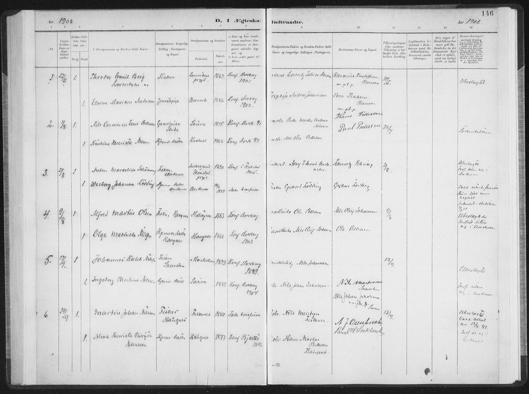 SAT, Ministerialprotokoller, klokkerbøker og fødselsregistre - Nordland, 897/L1400: Ministerialbok nr. 897A07, 1897-1908, s. 146
