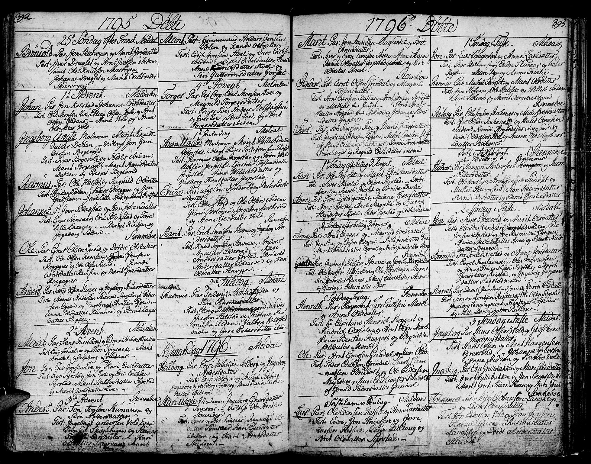 SAT, Ministerialprotokoller, klokkerbøker og fødselsregistre - Sør-Trøndelag, 672/L0852: Ministerialbok nr. 672A05, 1776-1815, s. 392-393