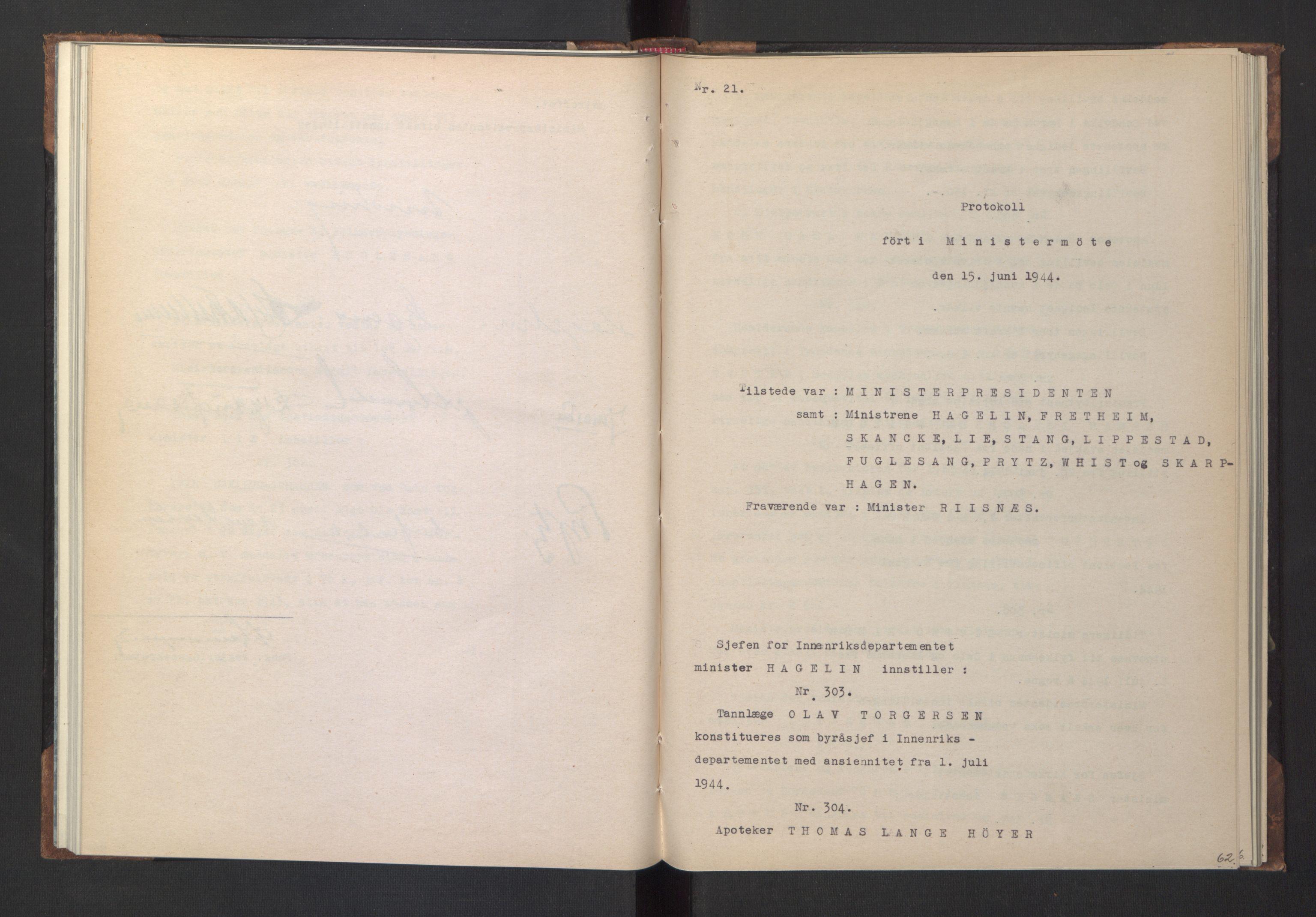 RA, NS-administrasjonen 1940-1945 (Statsrådsekretariatet, de kommisariske statsråder mm), D/Da/L0005: Protokoll fra ministermøter, 1944, s. 61b-62a