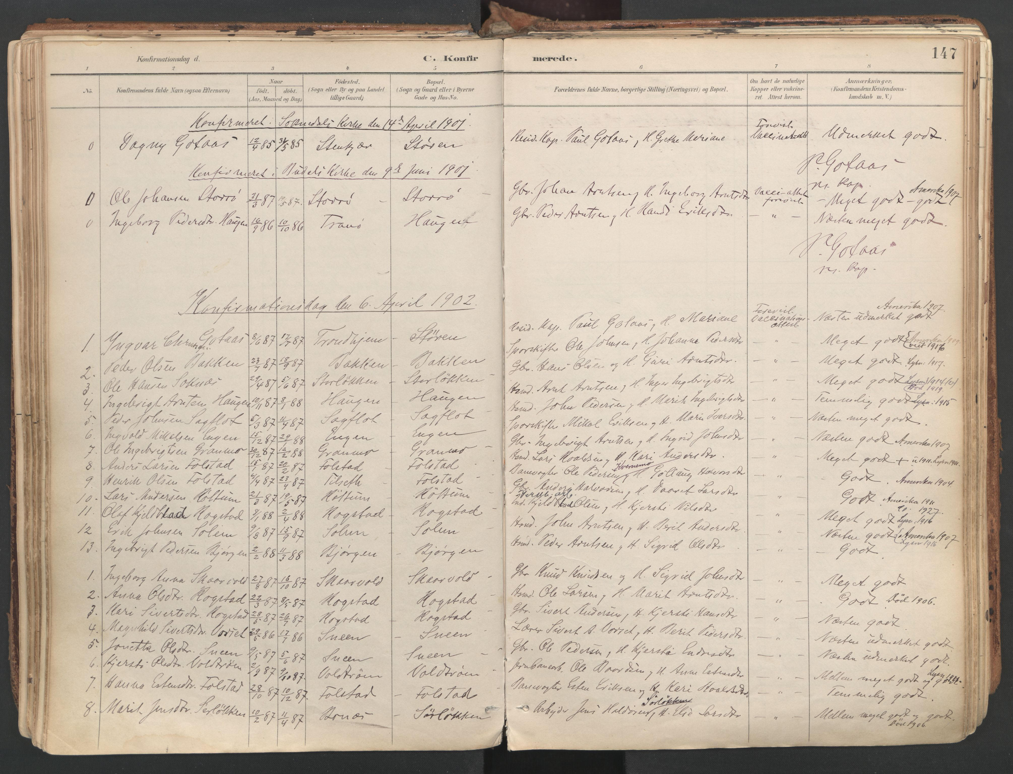 SAT, Ministerialprotokoller, klokkerbøker og fødselsregistre - Sør-Trøndelag, 687/L1004: Ministerialbok nr. 687A10, 1891-1923, s. 147