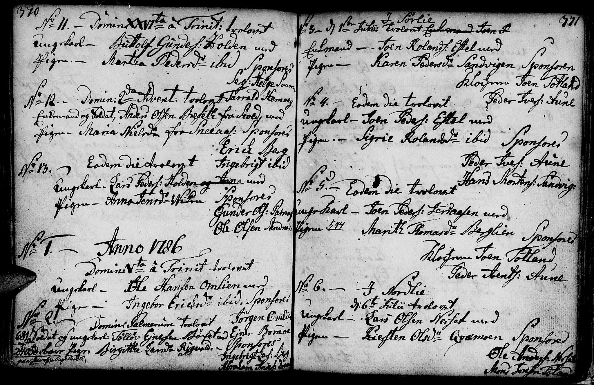 SAT, Ministerialprotokoller, klokkerbøker og fødselsregistre - Nord-Trøndelag, 749/L0467: Ministerialbok nr. 749A01, 1733-1787, s. 370-371