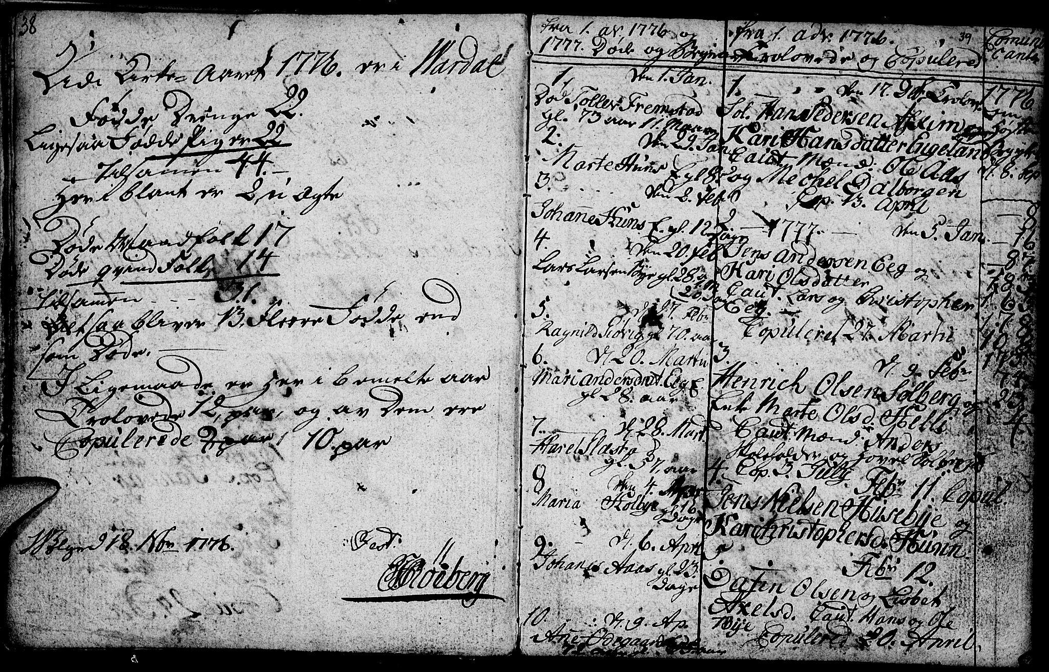 SAH, Vardal prestekontor, H/Ha/Hab/L0001: Klokkerbok nr. 1, 1771-1790, s. 38-39