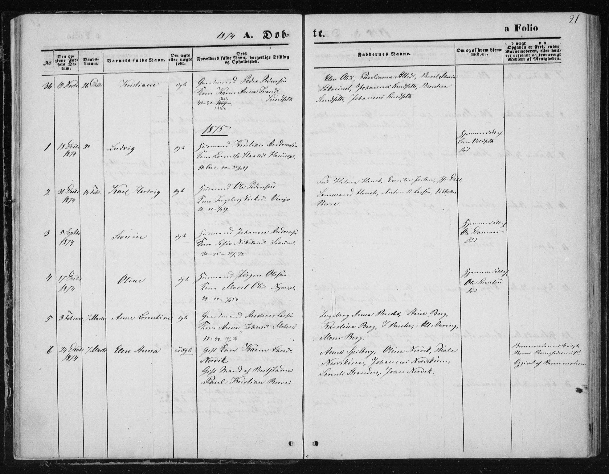 SAT, Ministerialprotokoller, klokkerbøker og fødselsregistre - Nord-Trøndelag, 733/L0324: Ministerialbok nr. 733A03, 1870-1883, s. 21