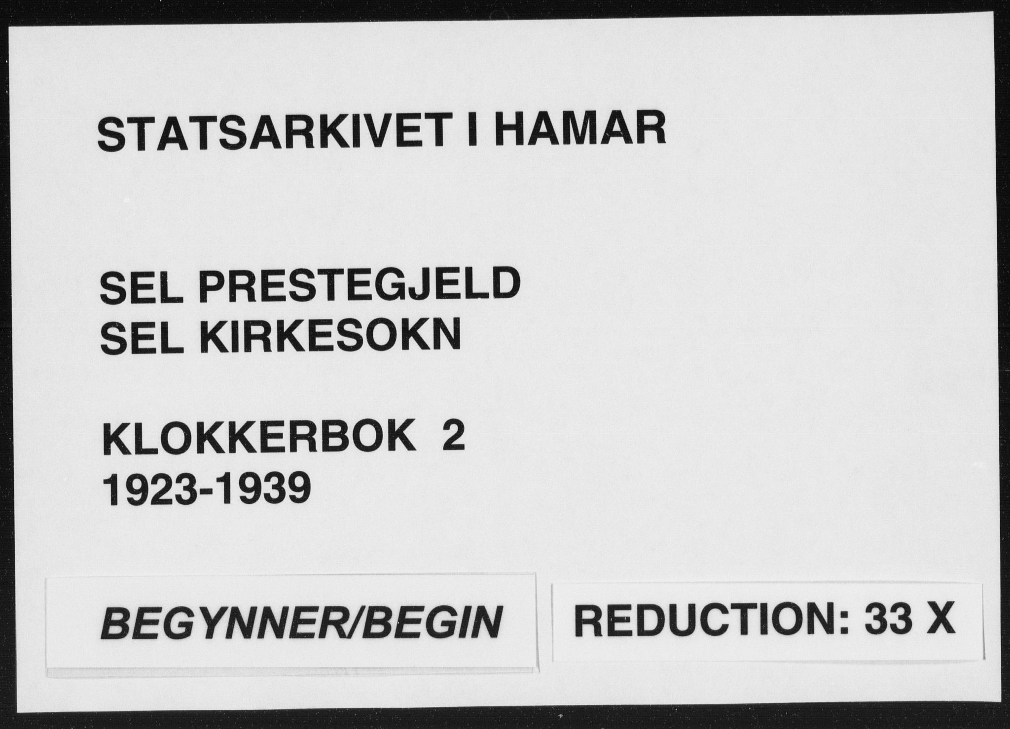 SAH, Sel prestekontor, Klokkerbok nr. 2, 1923-1939