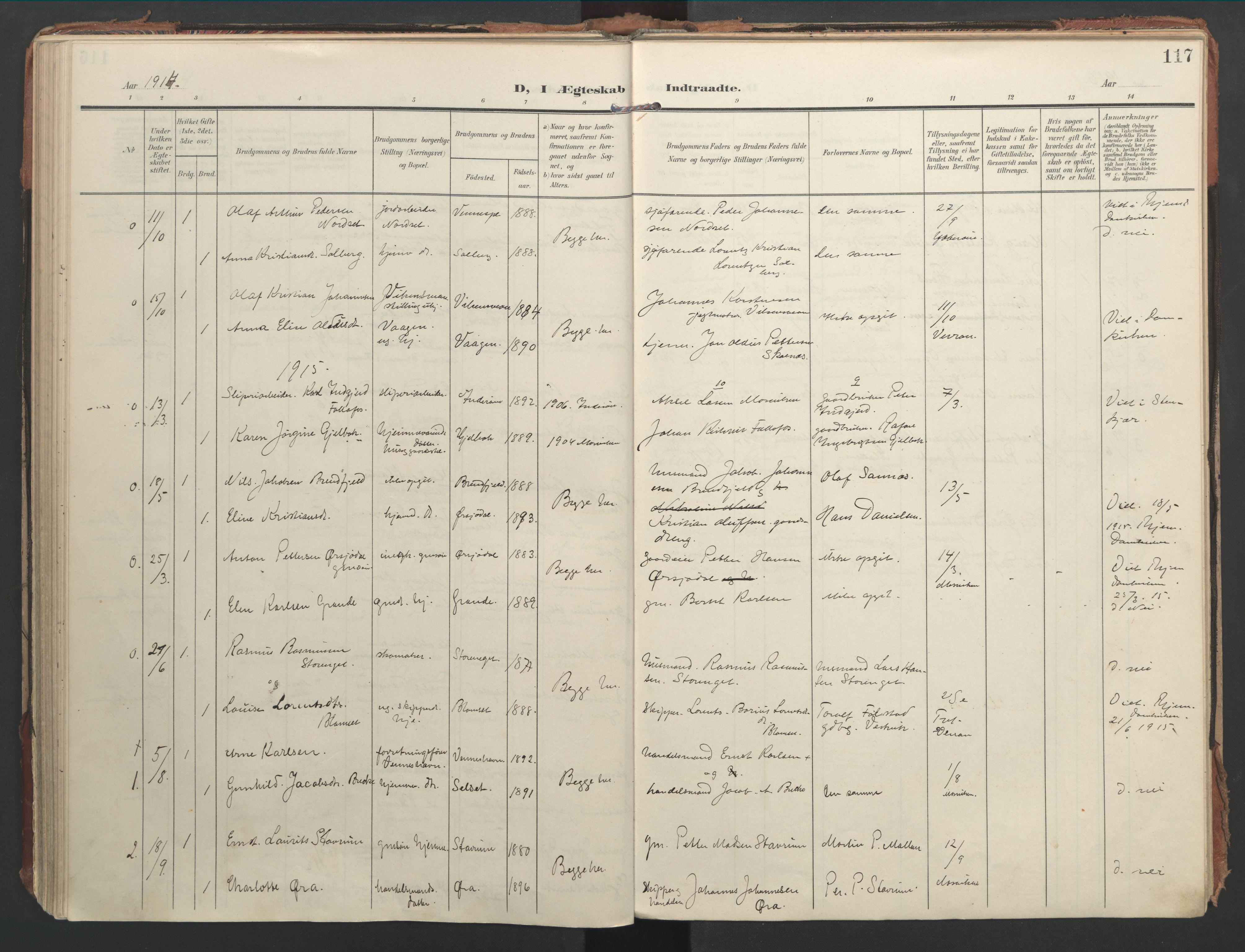 SAT, Ministerialprotokoller, klokkerbøker og fødselsregistre - Nord-Trøndelag, 744/L0421: Ministerialbok nr. 744A05, 1905-1930, s. 117