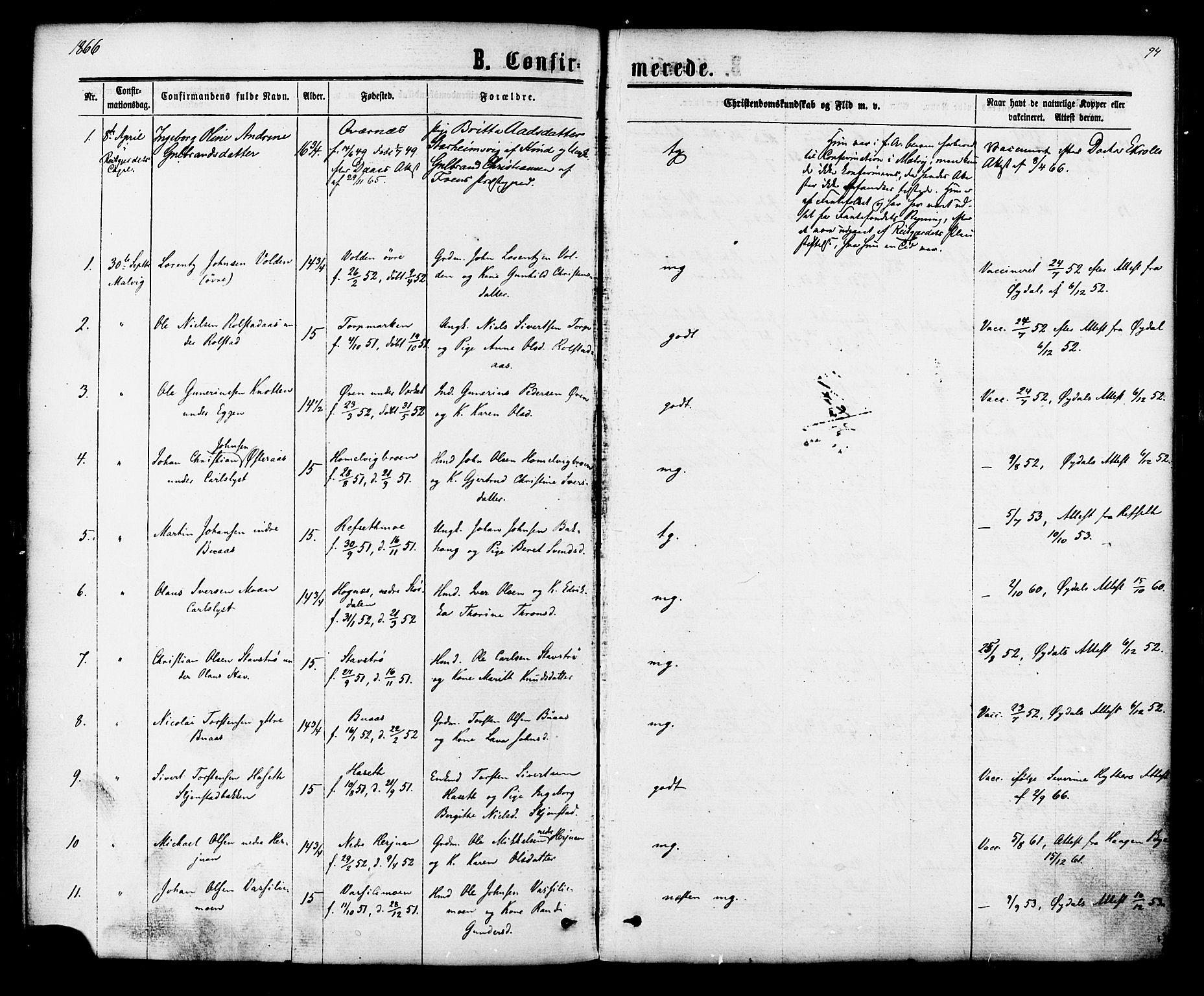 SAT, Ministerialprotokoller, klokkerbøker og fødselsregistre - Sør-Trøndelag, 616/L0409: Ministerialbok nr. 616A06, 1865-1877, s. 94
