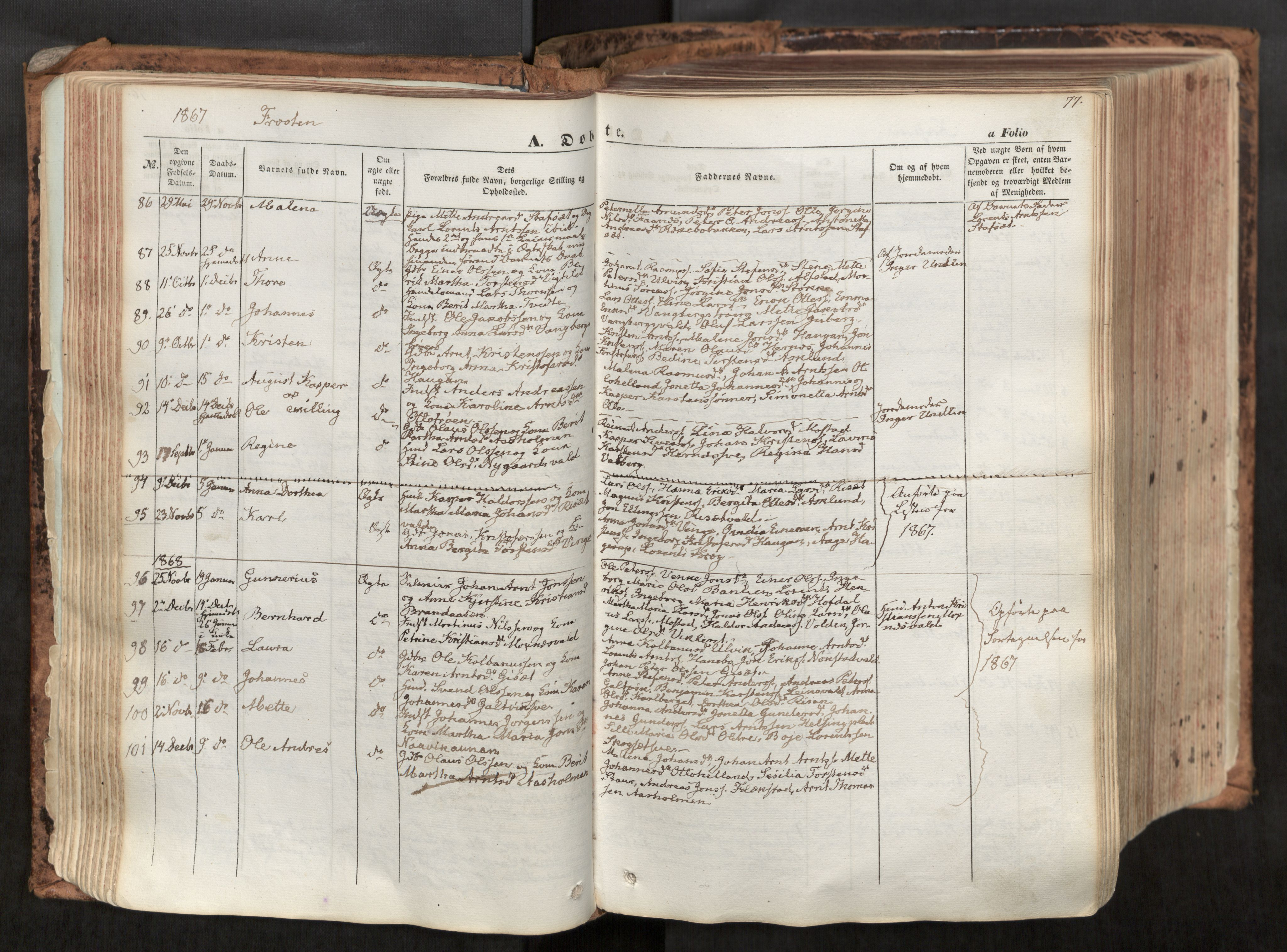 SAT, Ministerialprotokoller, klokkerbøker og fødselsregistre - Nord-Trøndelag, 713/L0116: Ministerialbok nr. 713A07, 1850-1877, s. 77