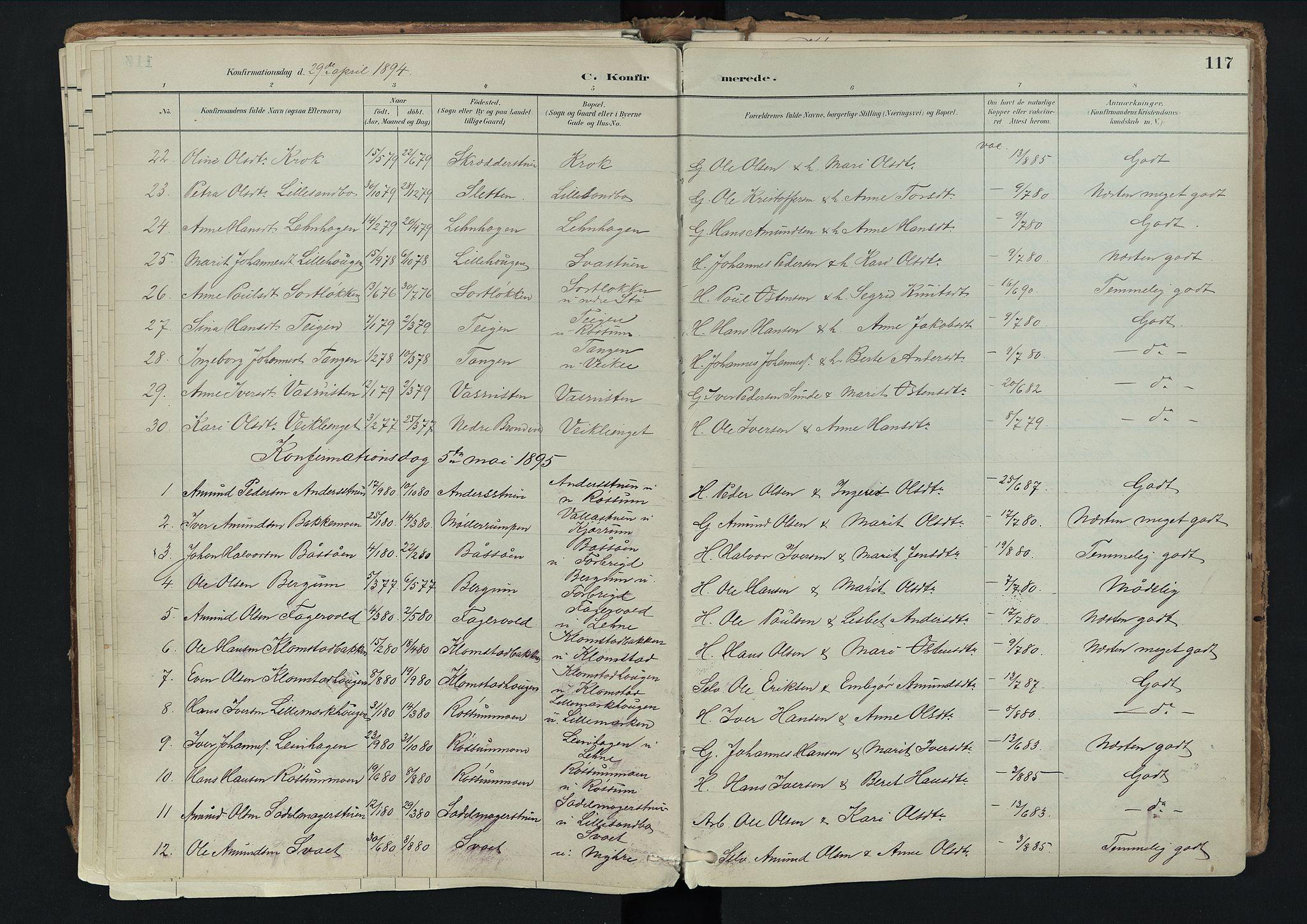 SAH, Nord-Fron prestekontor, Ministerialbok nr. 3, 1884-1914, s. 117