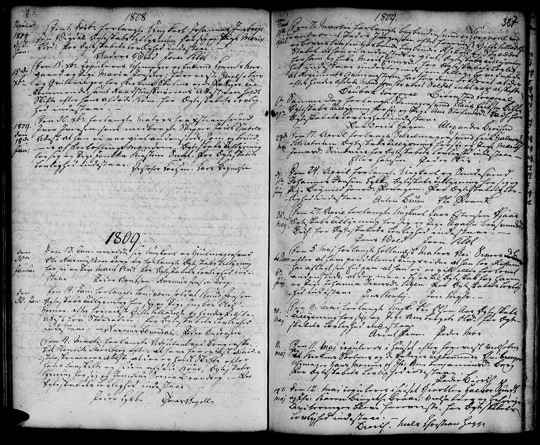 SAT, Ministerialprotokoller, klokkerbøker og fødselsregistre - Sør-Trøndelag, 601/L0038: Ministerialbok nr. 601A06, 1766-1877, s. 387