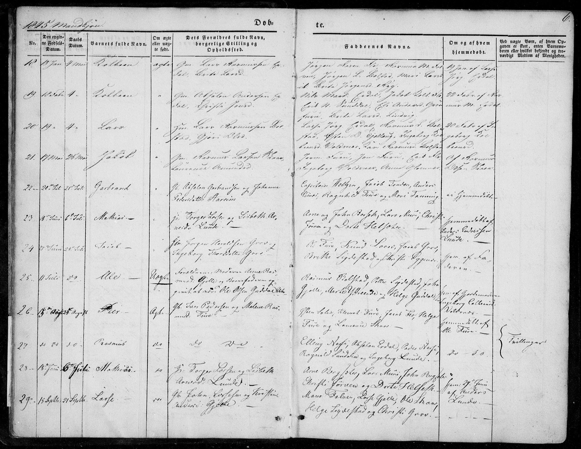 SAB, Stryn Sokneprestembete, Ministerialbok nr. A 2, 1844-1861, s. 6