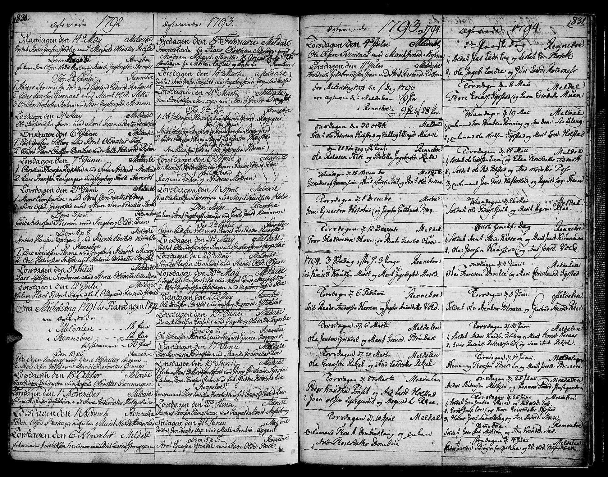 SAT, Ministerialprotokoller, klokkerbøker og fødselsregistre - Sør-Trøndelag, 672/L0852: Ministerialbok nr. 672A05, 1776-1815, s. 830-831