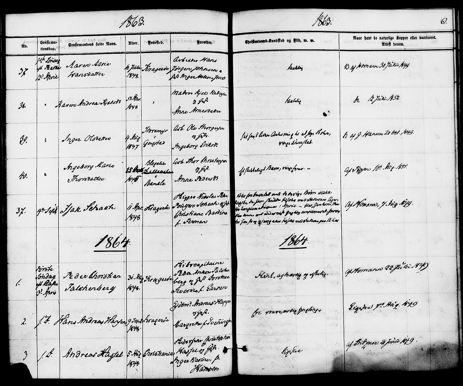 SAKO, Kragerø kirkebøker, F/Fa/L0008: Ministerialbok nr. 8, 1856-1880, s. 67