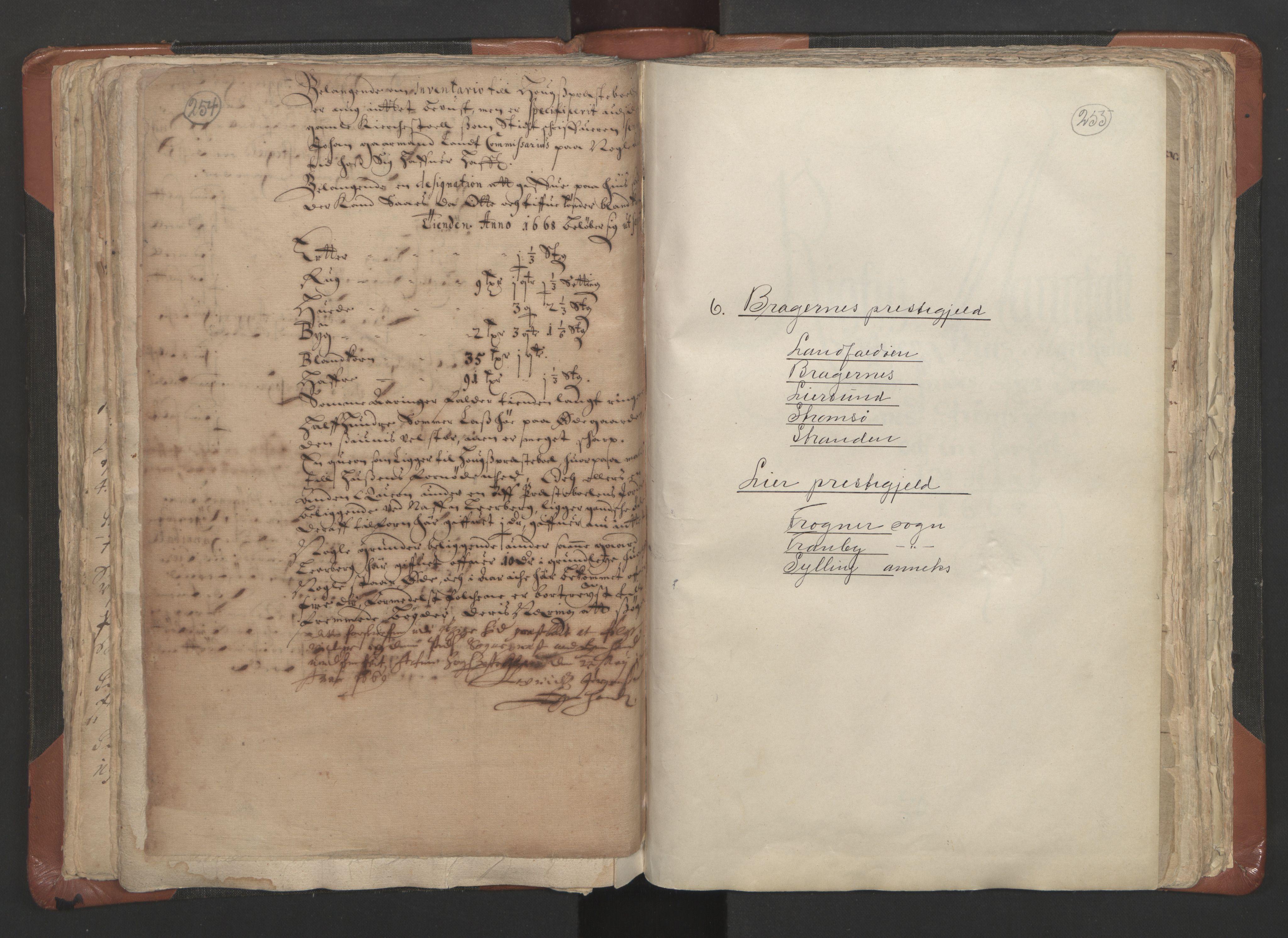 RA, Sogneprestenes manntall 1664-1666, nr. 9: Bragernes prosti, 1664-1666, s. 254-255