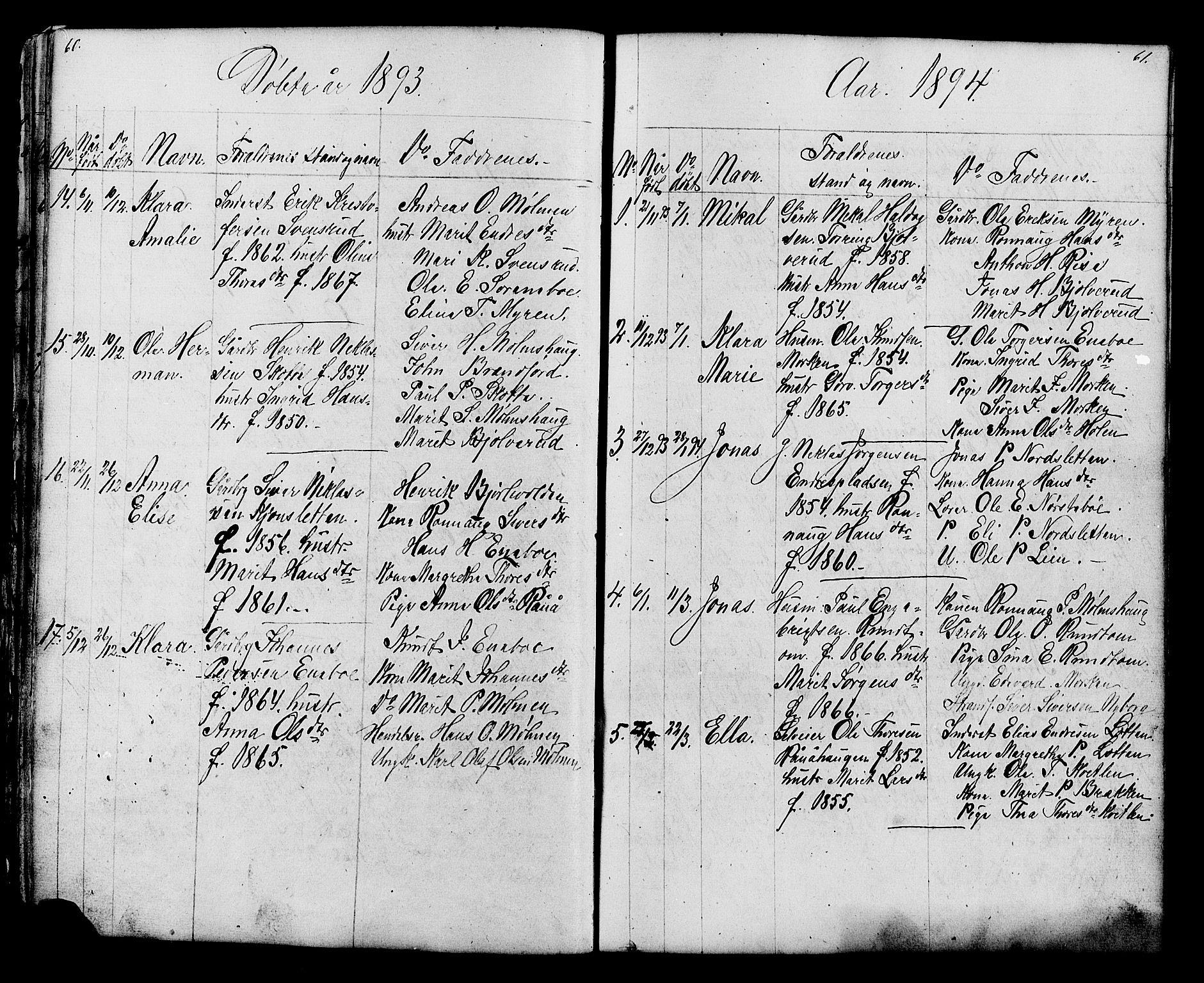 SAH, Lesja prestekontor, Klokkerbok nr. 6, 1871-1904, s. 60-61