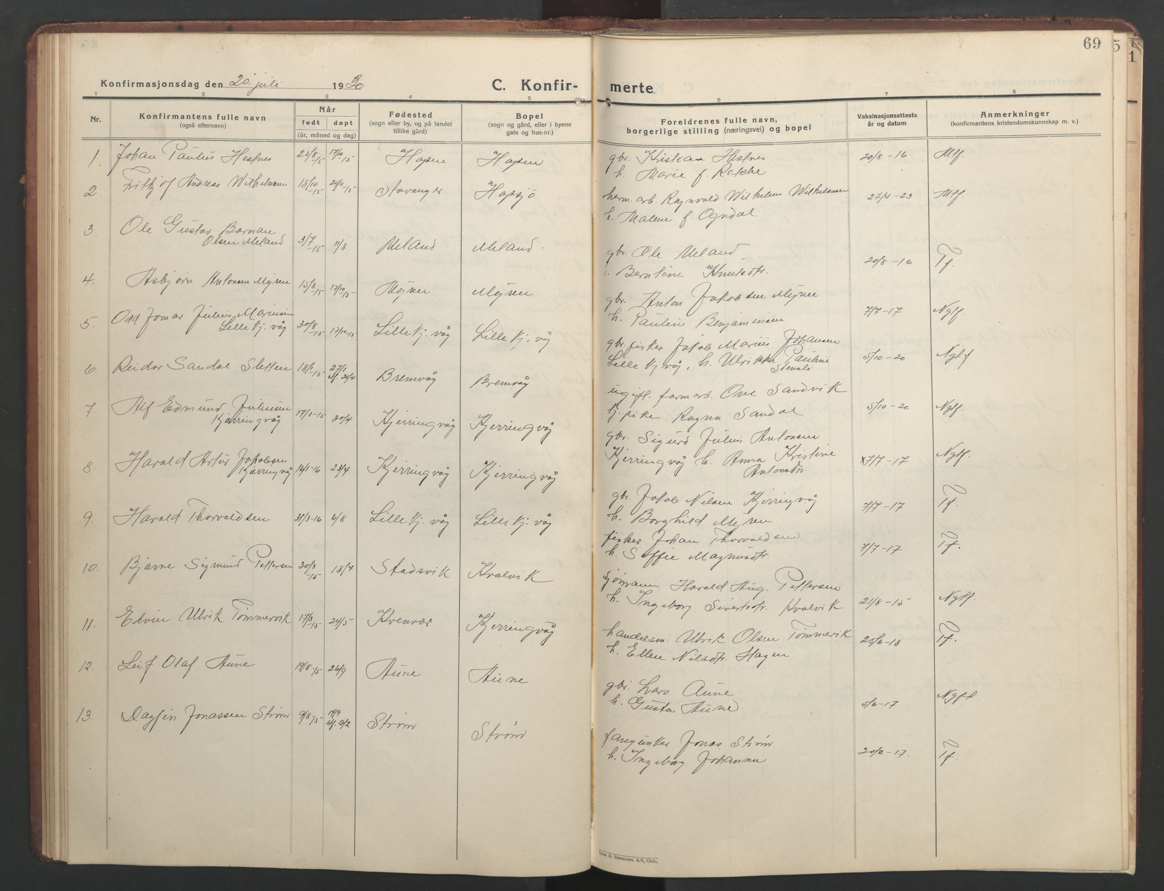 SAT, Ministerialprotokoller, klokkerbøker og fødselsregistre - Sør-Trøndelag, 634/L0544: Klokkerbok nr. 634C06, 1927-1948, s. 69