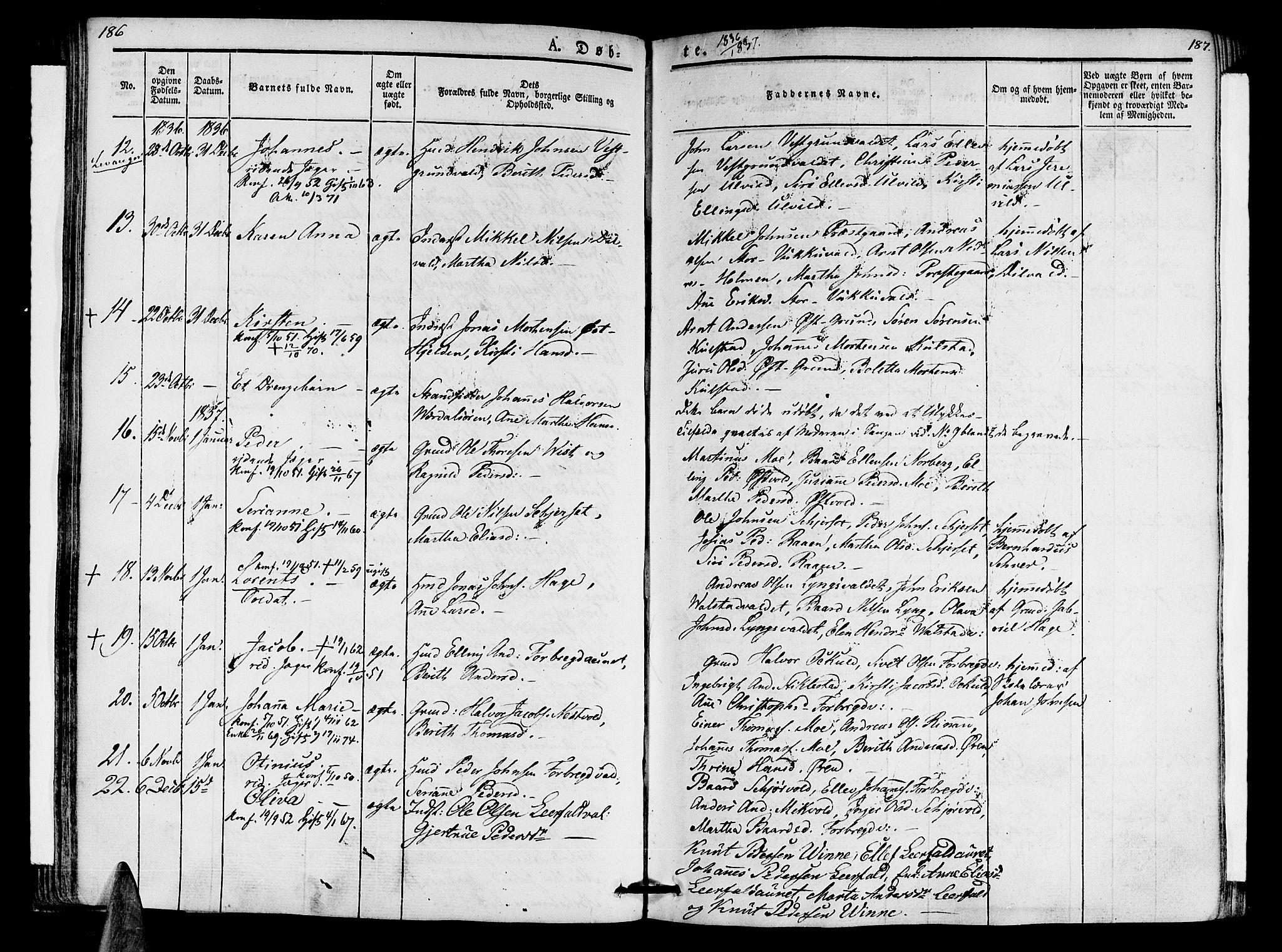 SAT, Ministerialprotokoller, klokkerbøker og fødselsregistre - Nord-Trøndelag, 723/L0238: Ministerialbok nr. 723A07, 1831-1840, s. 186-187